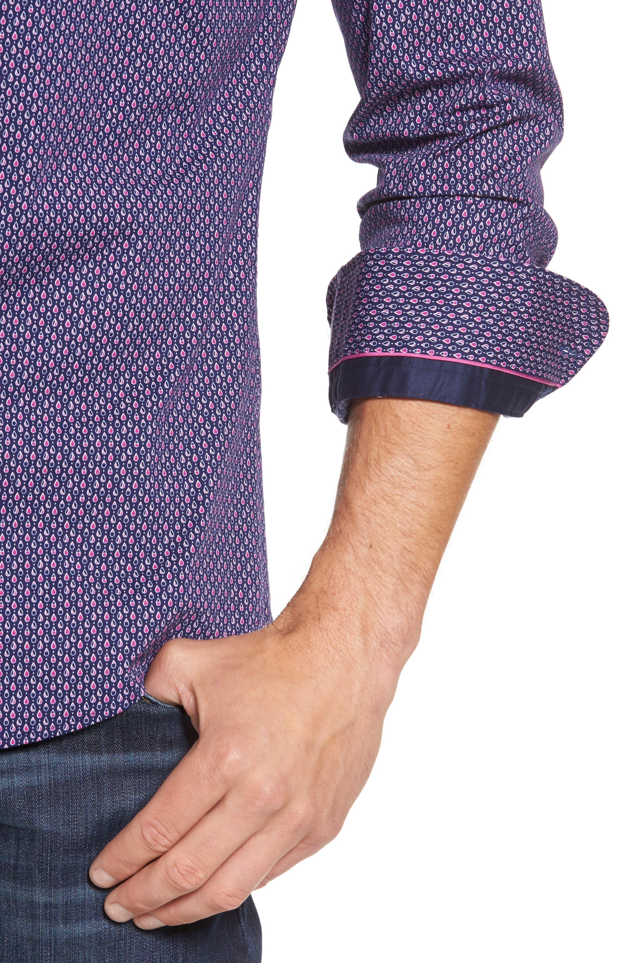 Slim Fit Teardrop Print Sport Shirt,                             Alternate thumbnail 4, color,                             500