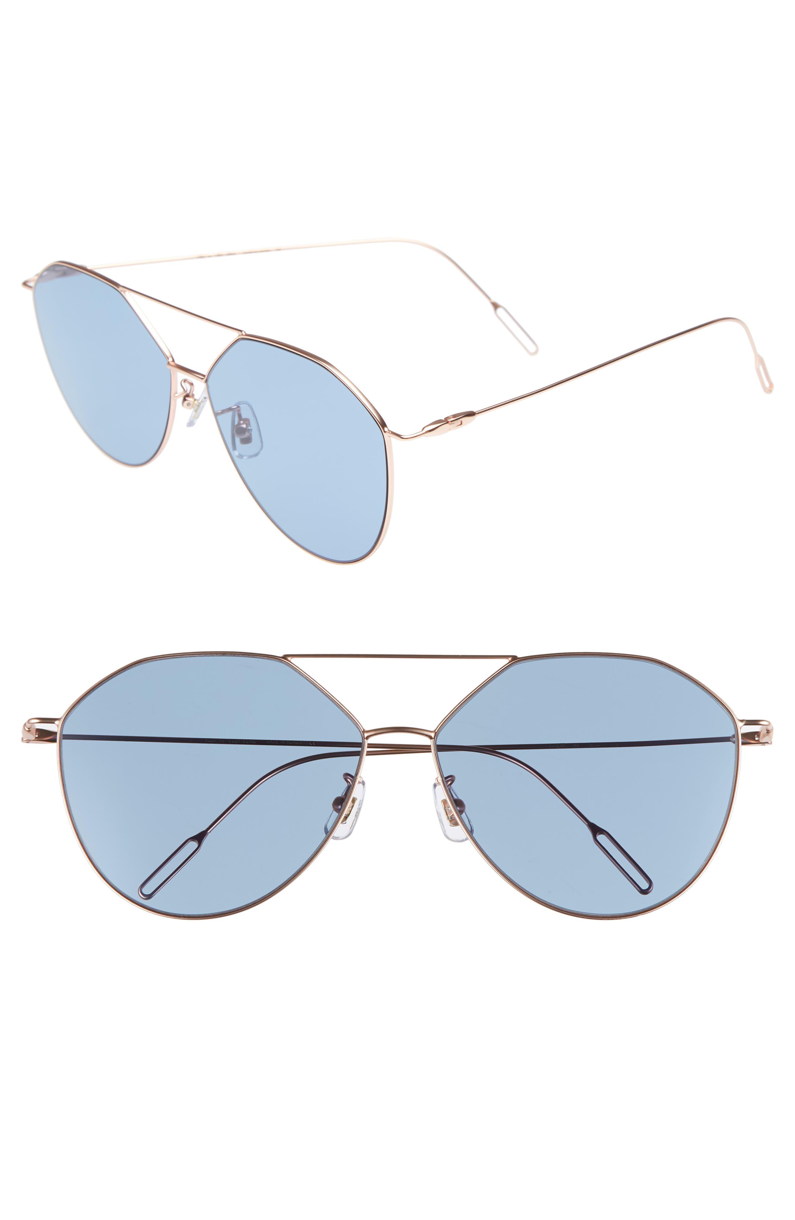 62mm Metal Oversize Aviator Sunglasses,                         Main,                         color, ROSE GOLD/NAVY