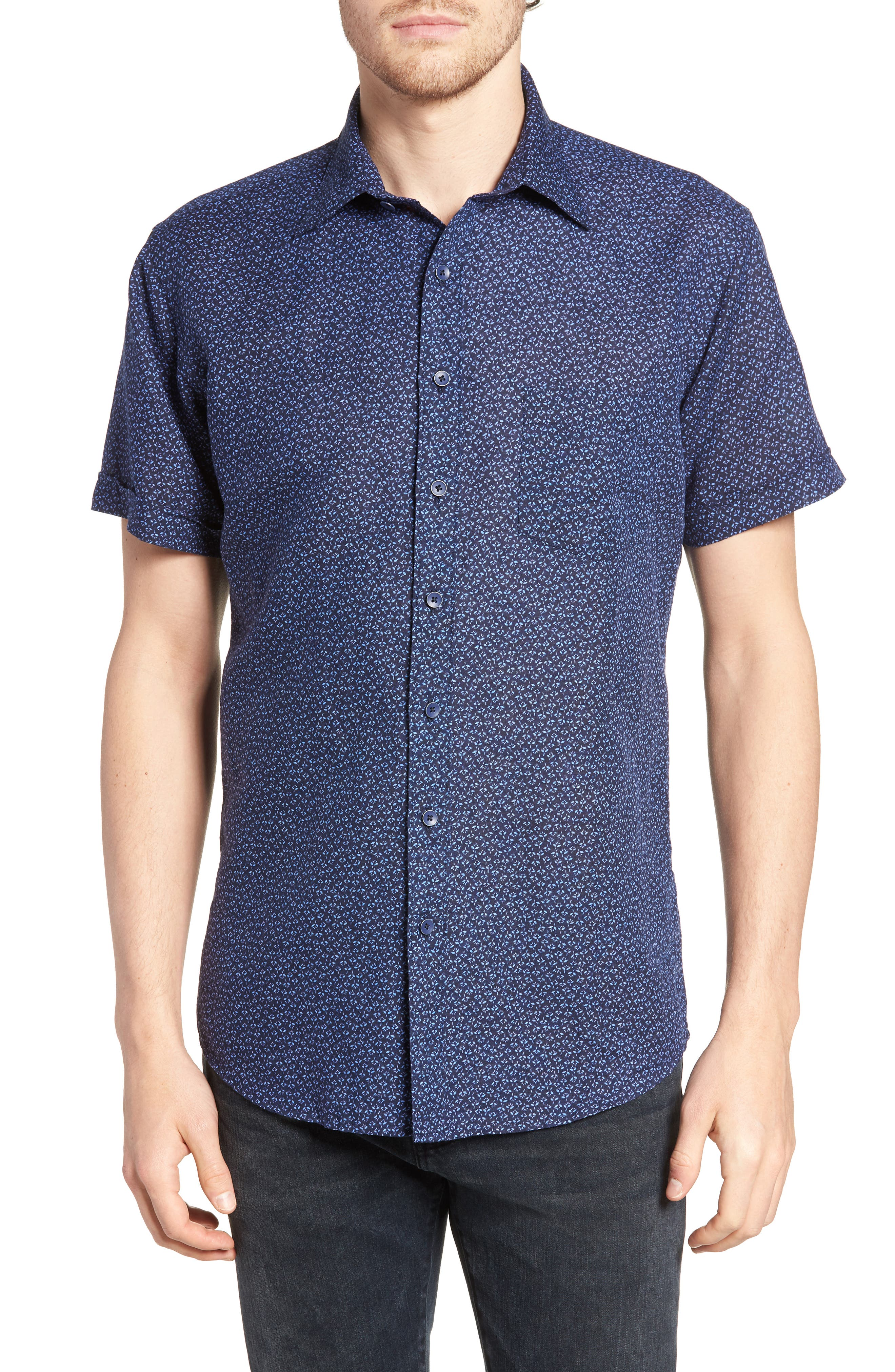 Windermere Linen & Cotton Sport Shirt,                             Main thumbnail 1, color,                             INDIGO