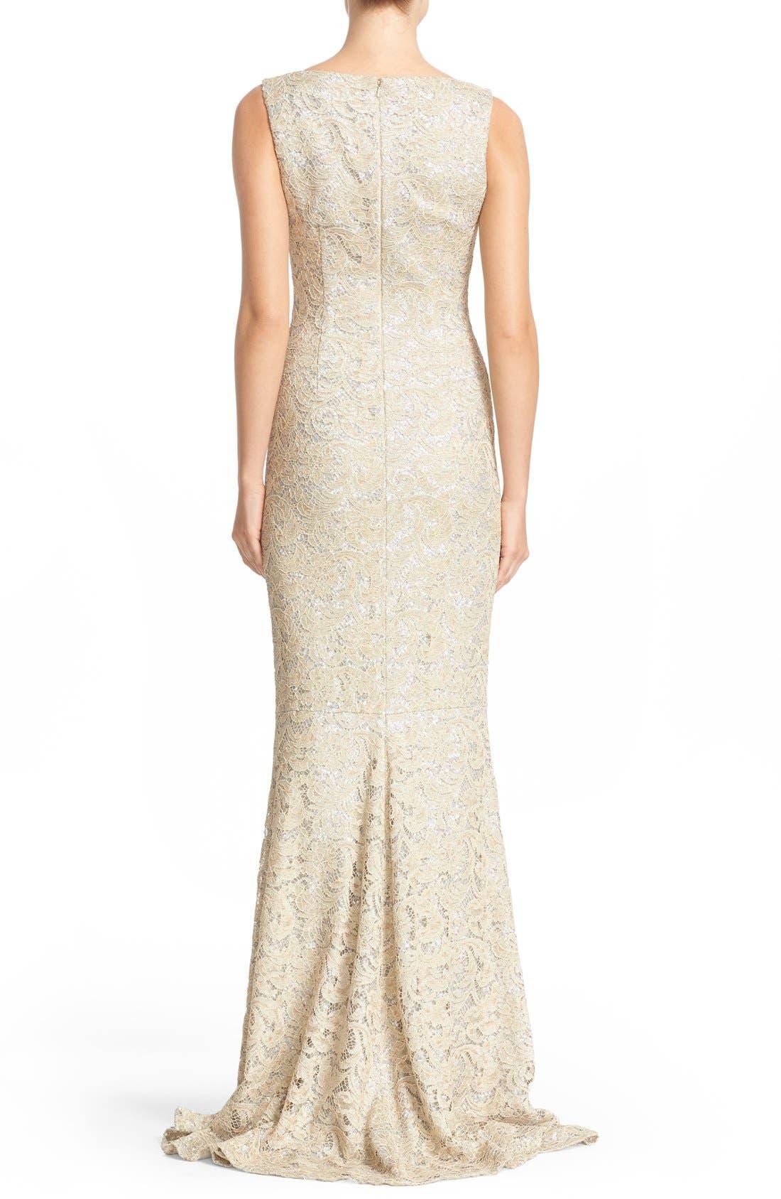 Sequin Lace Column Gown,                             Alternate thumbnail 2, color,                             SAND