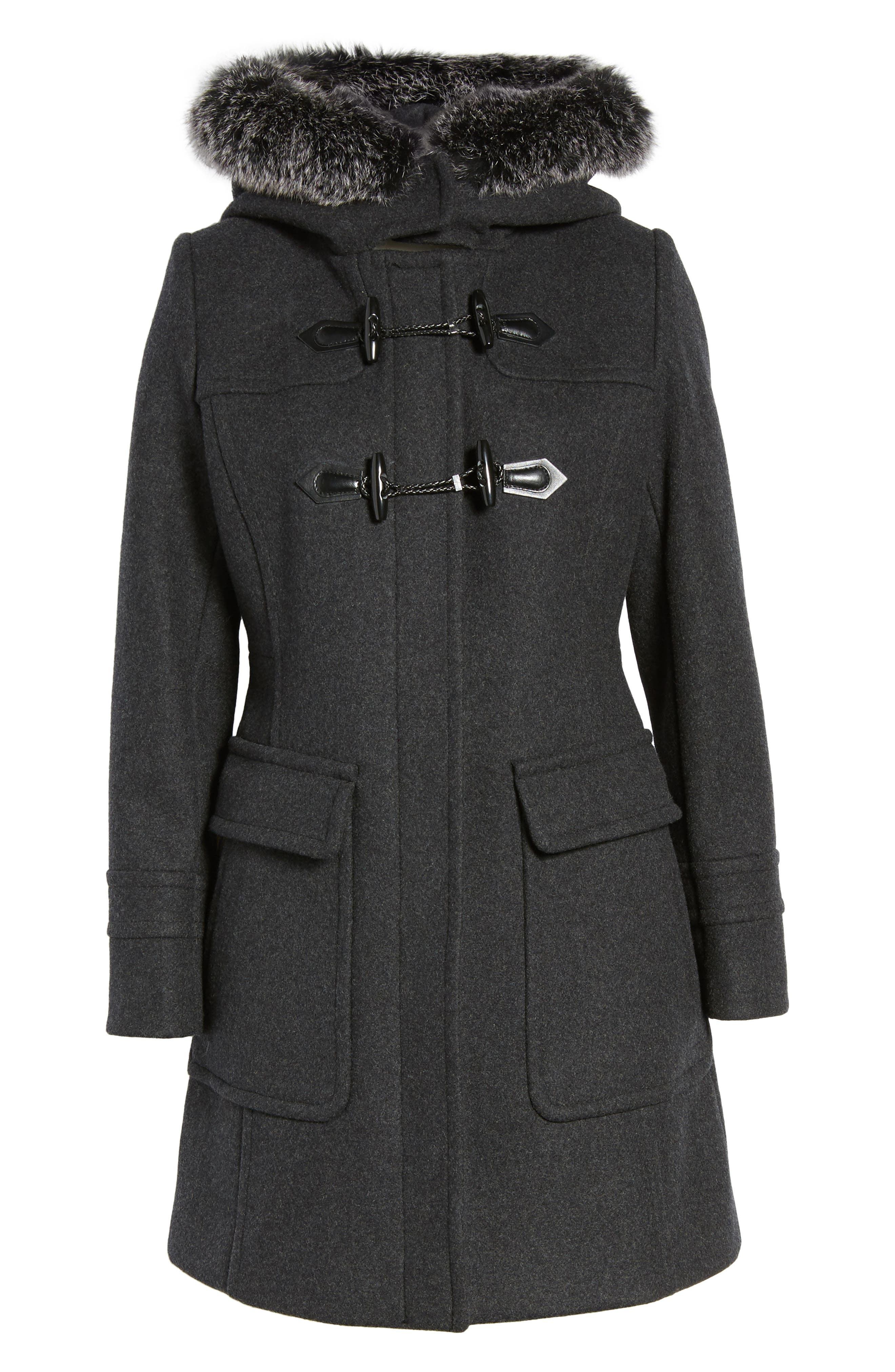 Connie Duffle Coat with Genuine Fox Fur,                             Alternate thumbnail 5, color,                             022