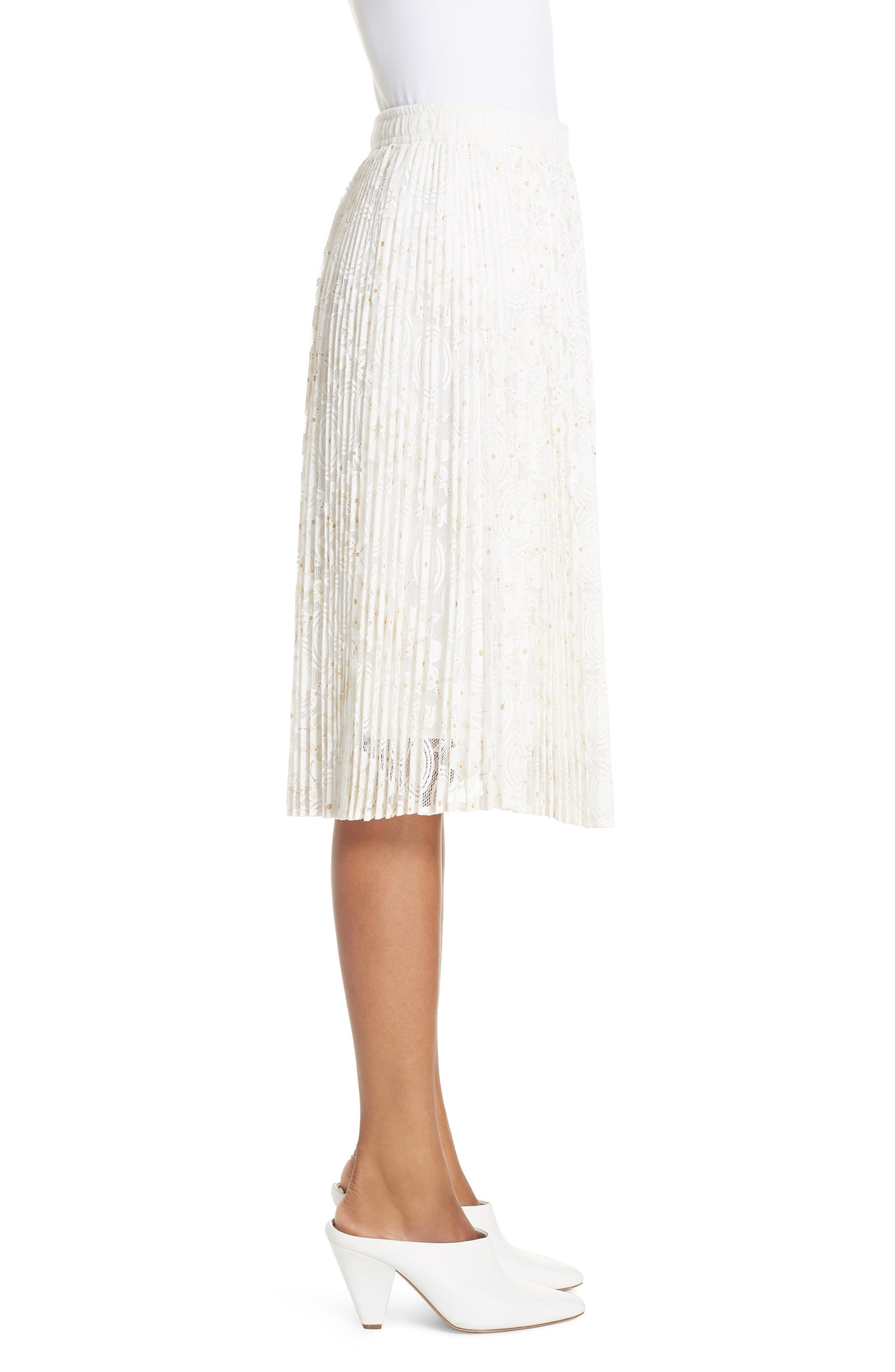 Metallic Floral Lace Pleated Skirt,                             Alternate thumbnail 3, color,                             IVORY