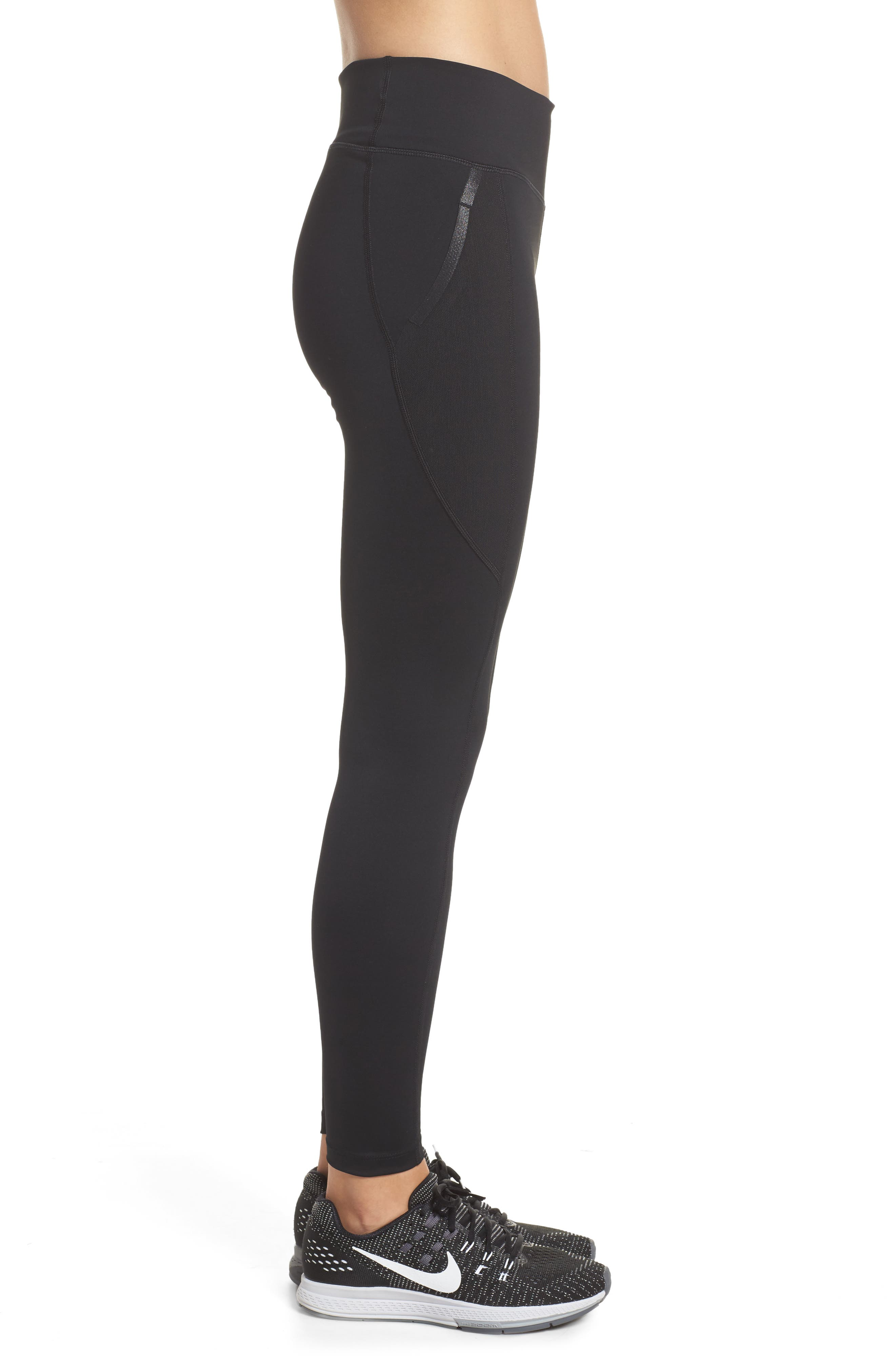 Power Pocket Lux Ankle Tights,                             Alternate thumbnail 3, color,                             BLACK/ BLACK/ CLEAR