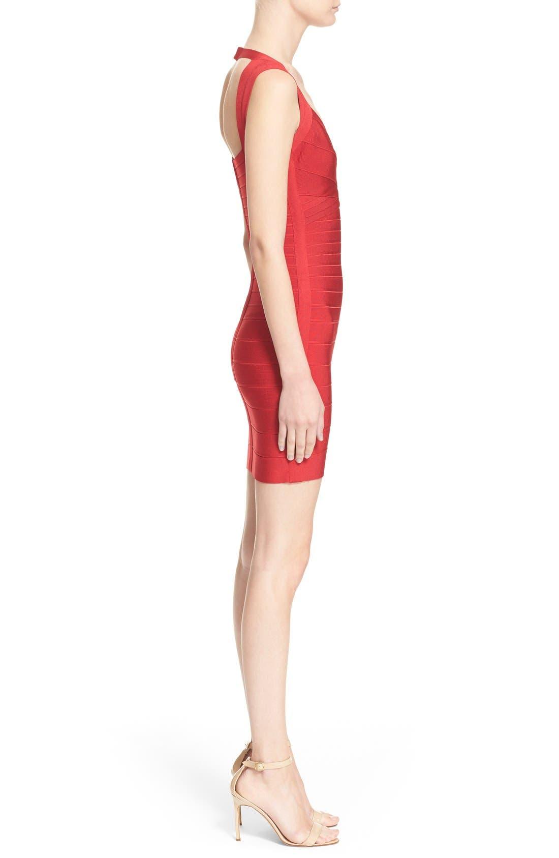 HERVE LEGER,                             Open Back Bandage Dress,                             Alternate thumbnail 5, color,                             616