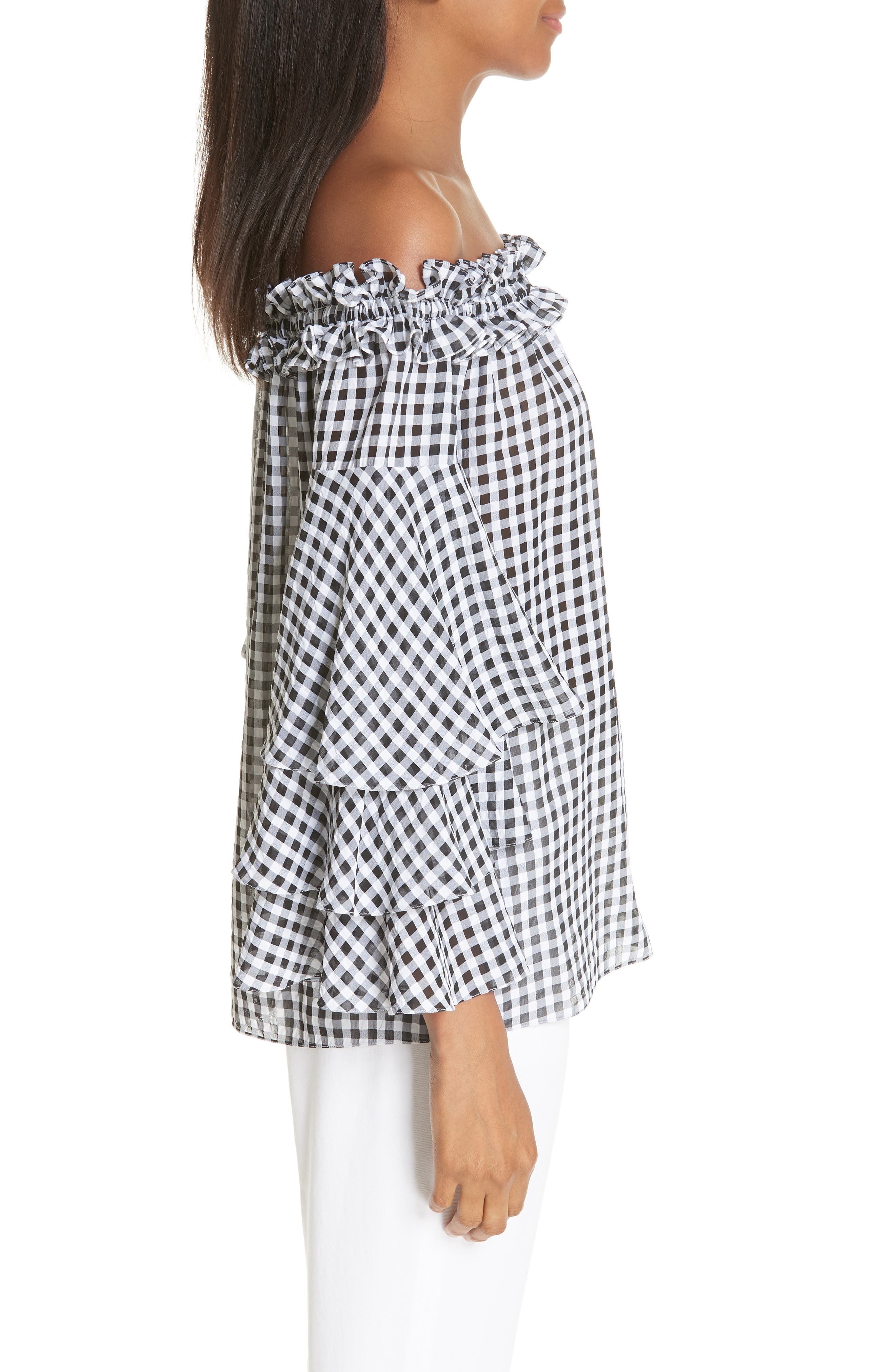 Gingham Tiered Sleeve Off the Shoulder Top,                             Alternate thumbnail 3, color,                             BLACK/ OPTIC WHITE