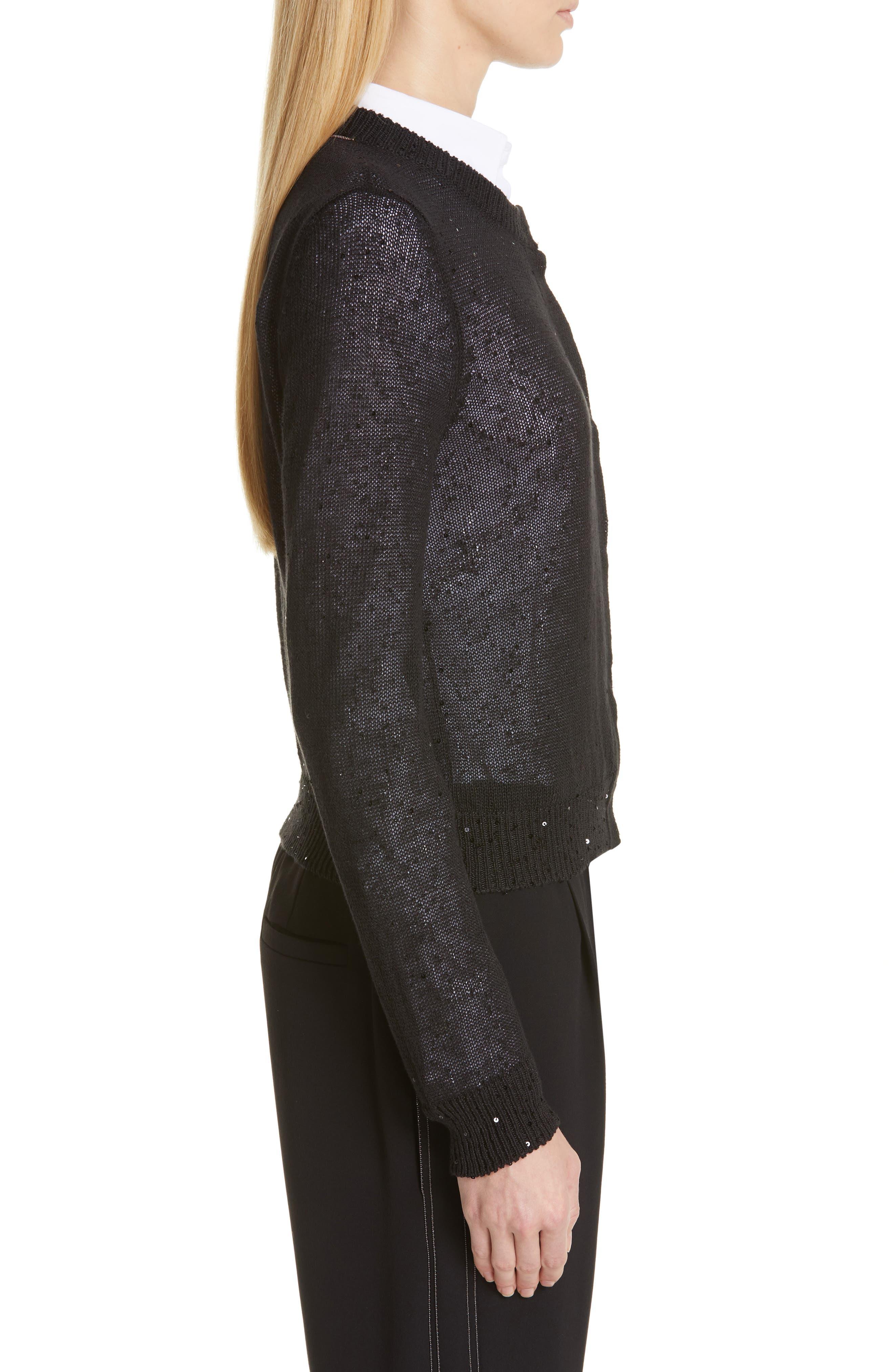 Sequin Linen & Silk Crop Cardigan,                             Alternate thumbnail 3, color,                             BLACK