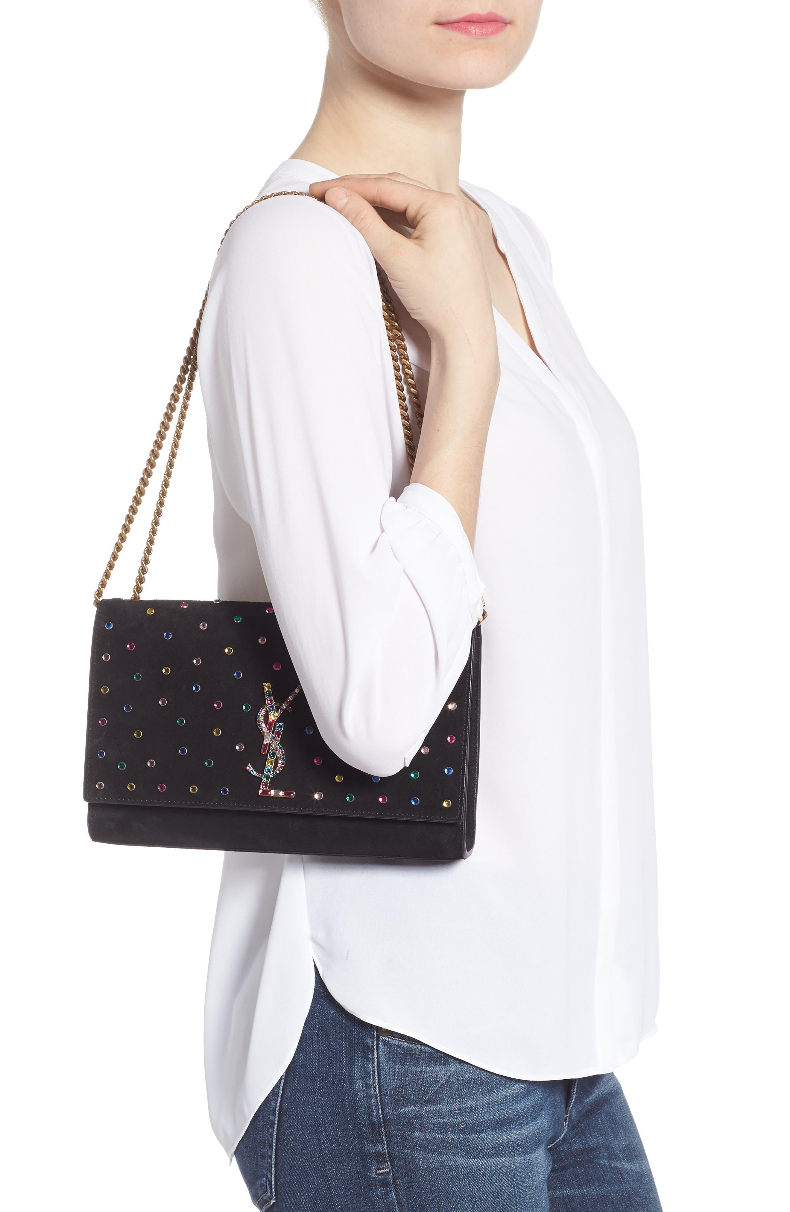Medium Kate Embellished Suede Shoulder Bag,                             Alternate thumbnail 2, color,                             1077 MULTI