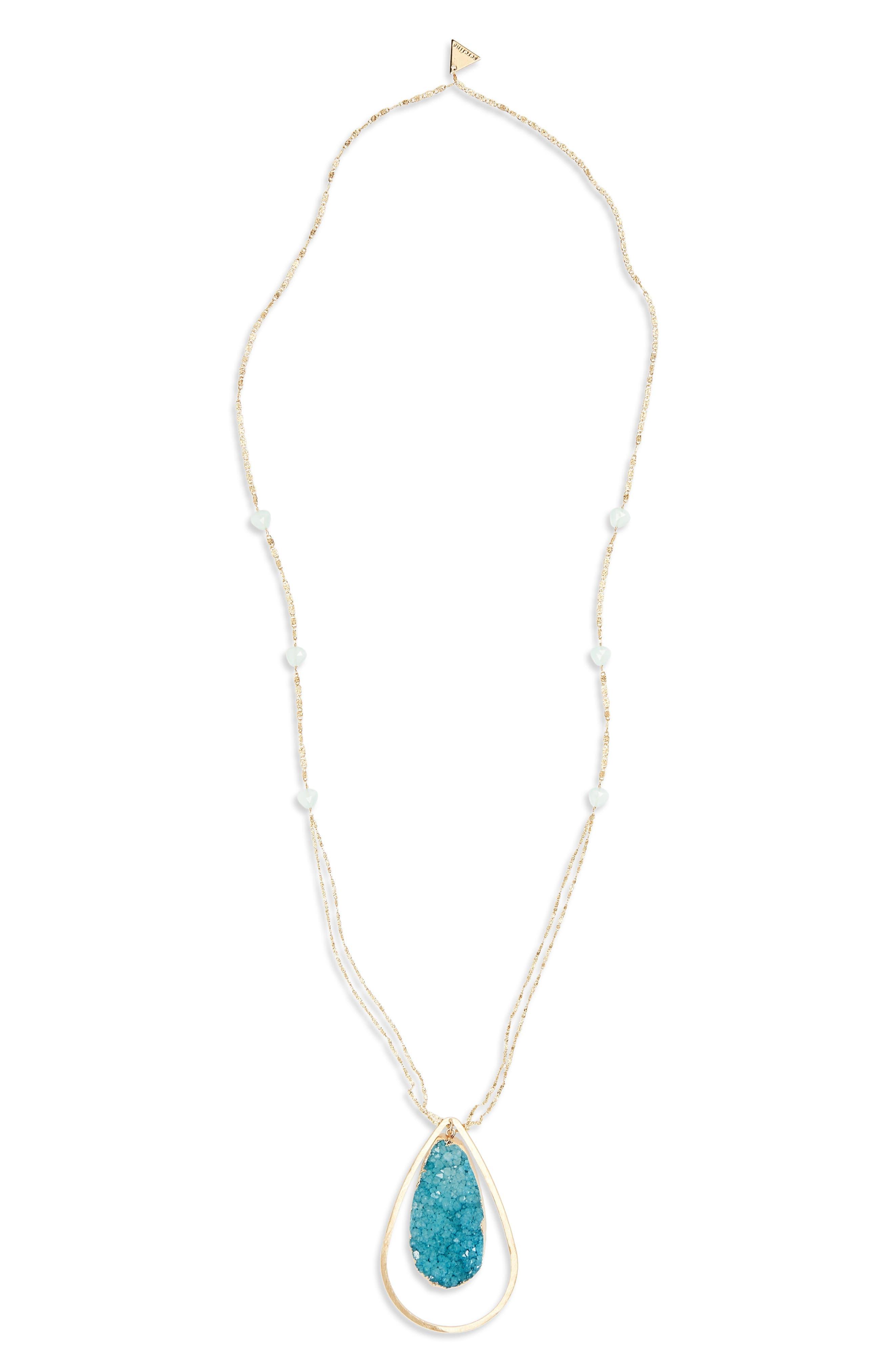 Drusy Teardrop Pendant Necklace,                         Main,                         color,