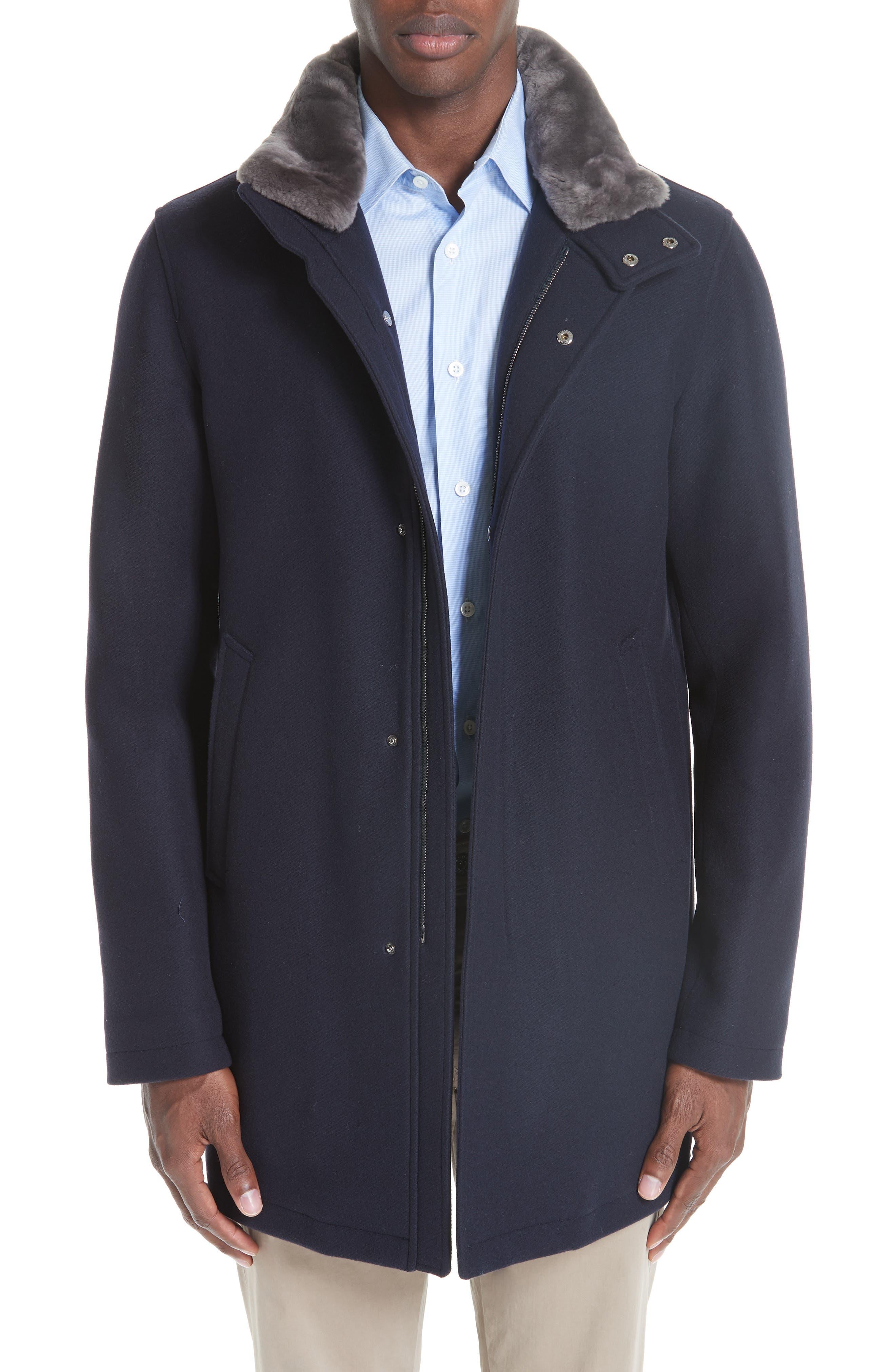 Genuine Beaver Fur Collar Wool Blend Coat,                         Main,                         color, NAVY