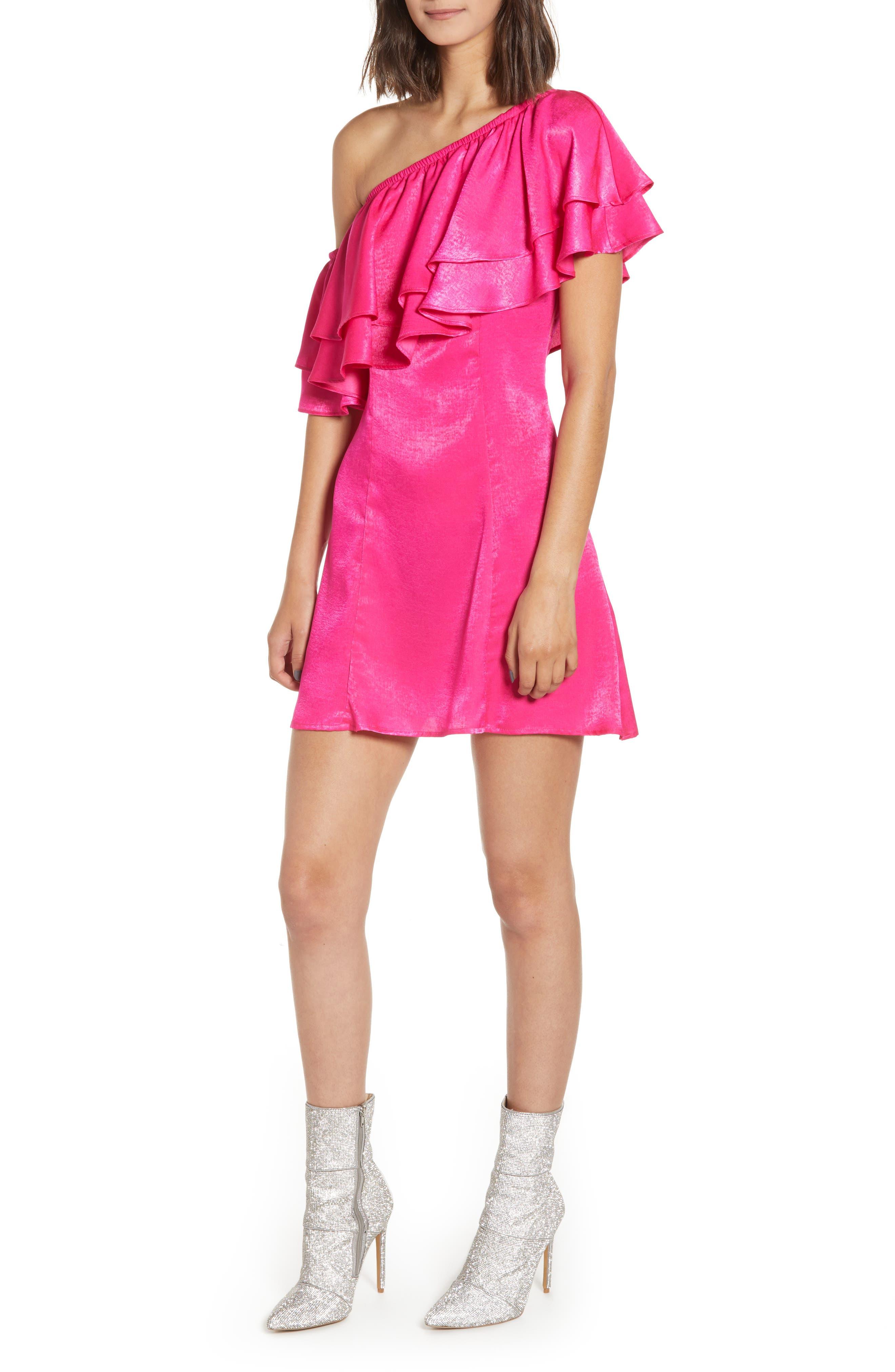 Show Me Your Mumu Ruffle One-Shoulder Satin Minidress, Pink
