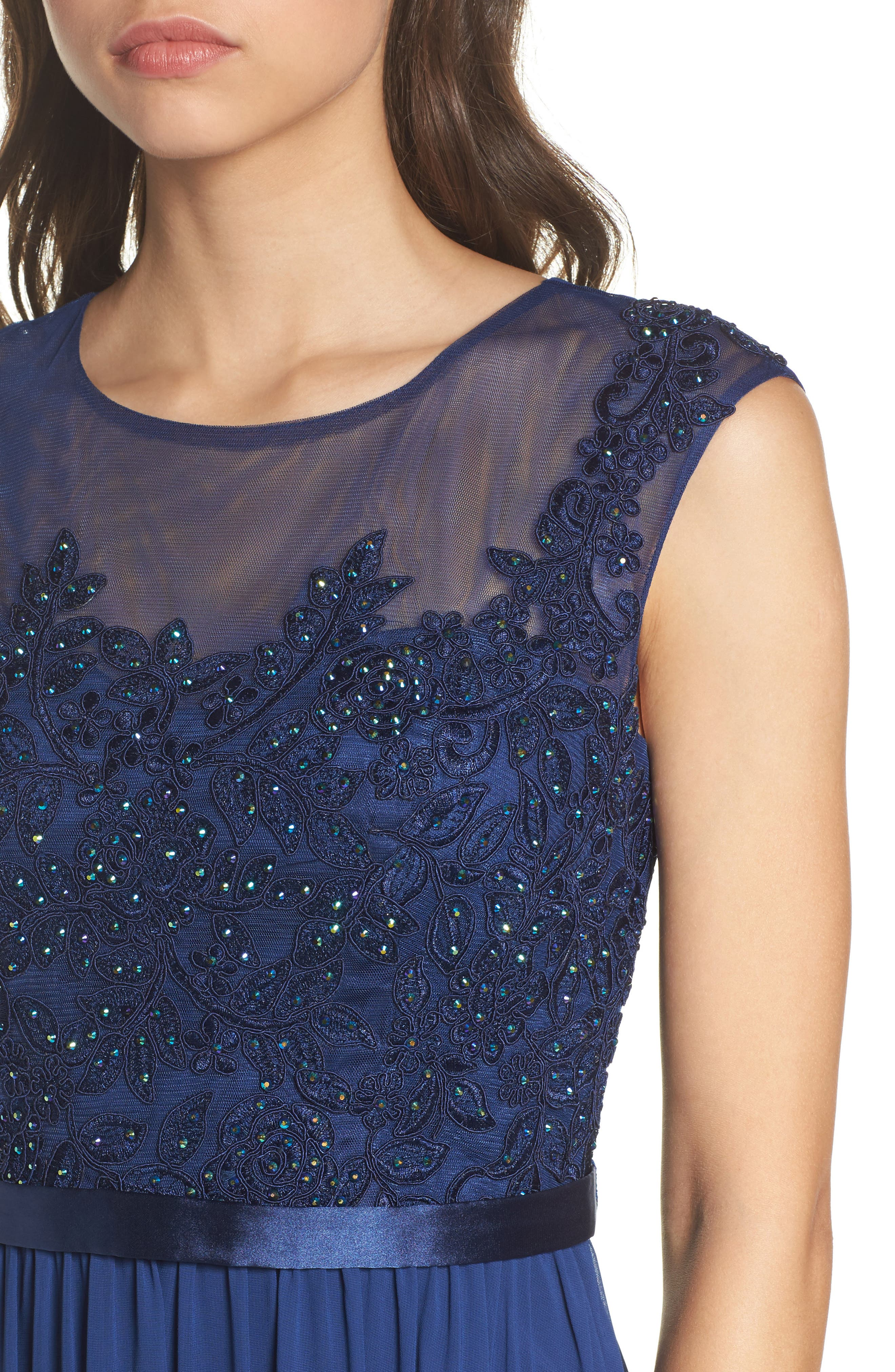 Xcape Embellished Bodice Mesh A-Line Gown,                             Alternate thumbnail 4, color,