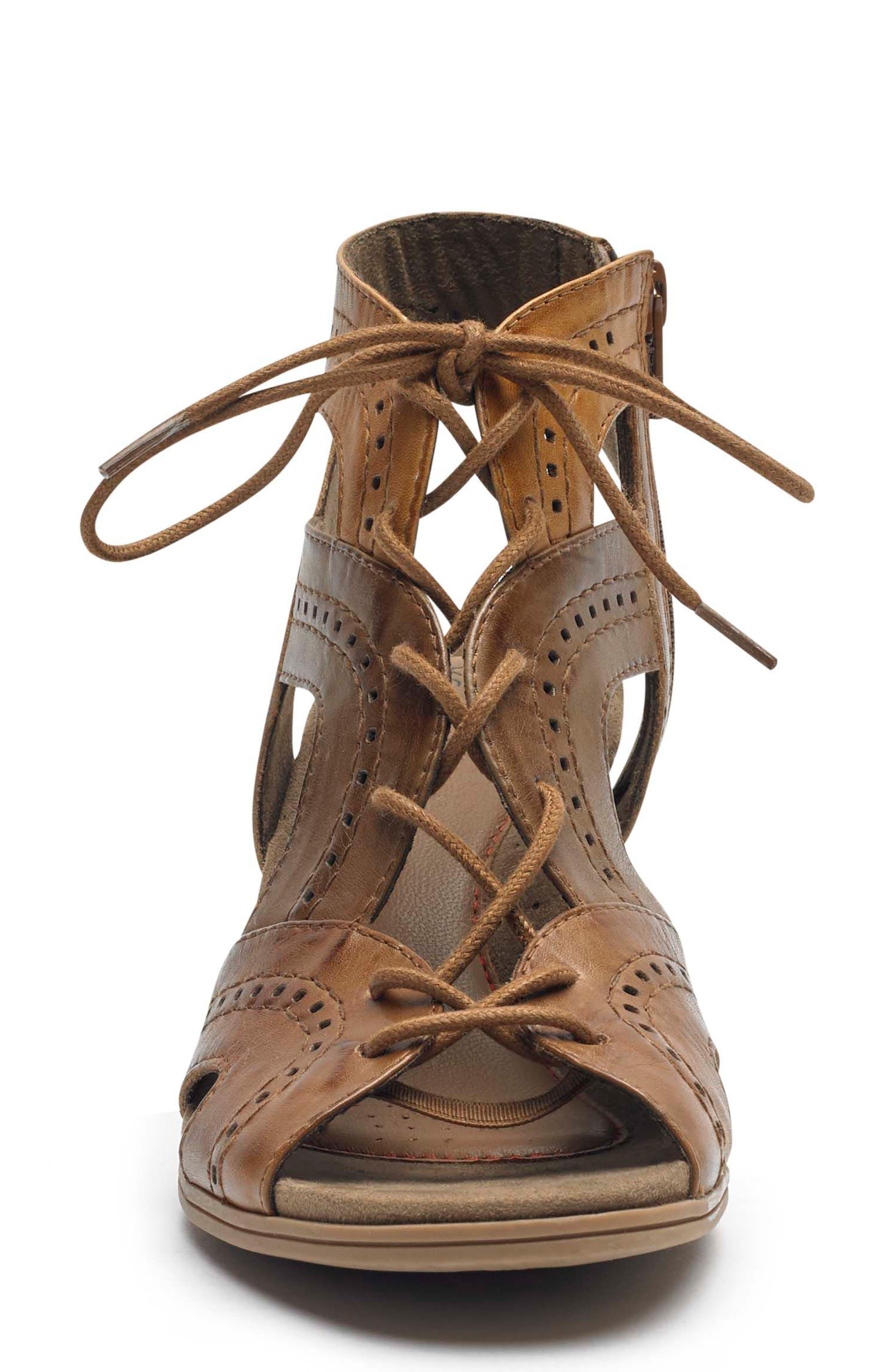 ROCKPORT COBB HILL,                             Hattie Lace-up Sandal,                             Alternate thumbnail 4, color,                             TAN LEATHER