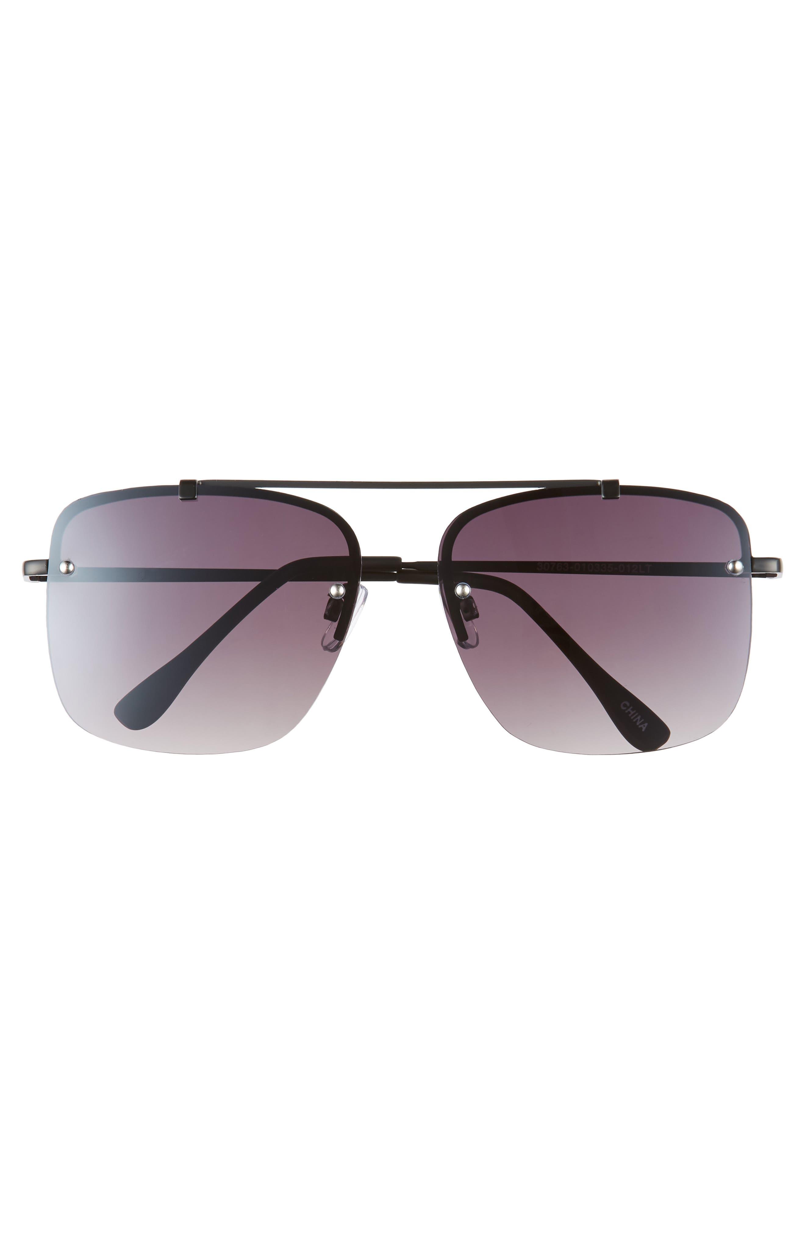 Rimless Square Sunglasses,                             Alternate thumbnail 3, color,                             BLACK/ BLACK