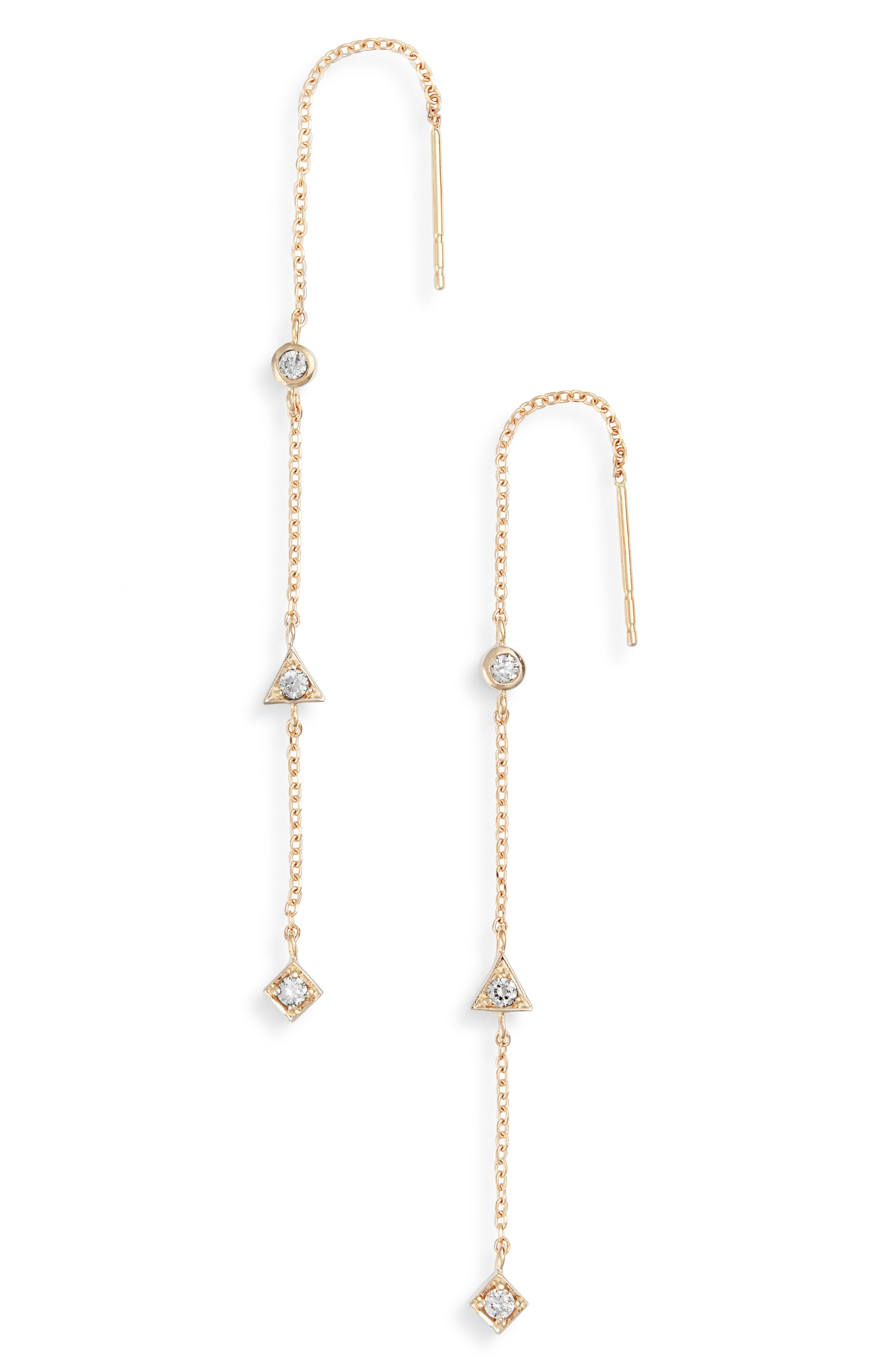 Cleo Diamond Linear Earrings,                         Main,                         color, GOLD
