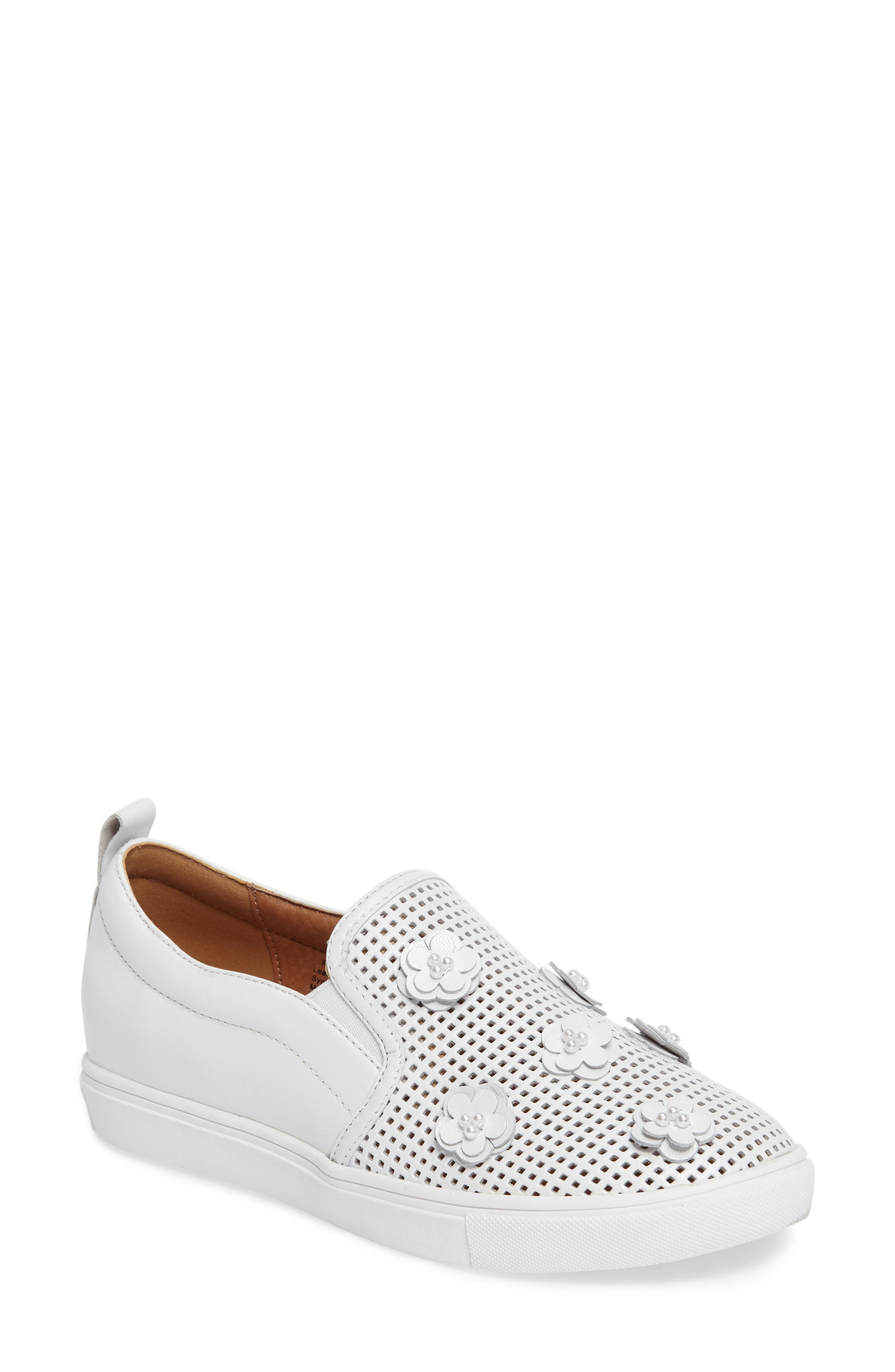 Eden Perforated Slip-On Sneaker,                         Main,                         color, 100