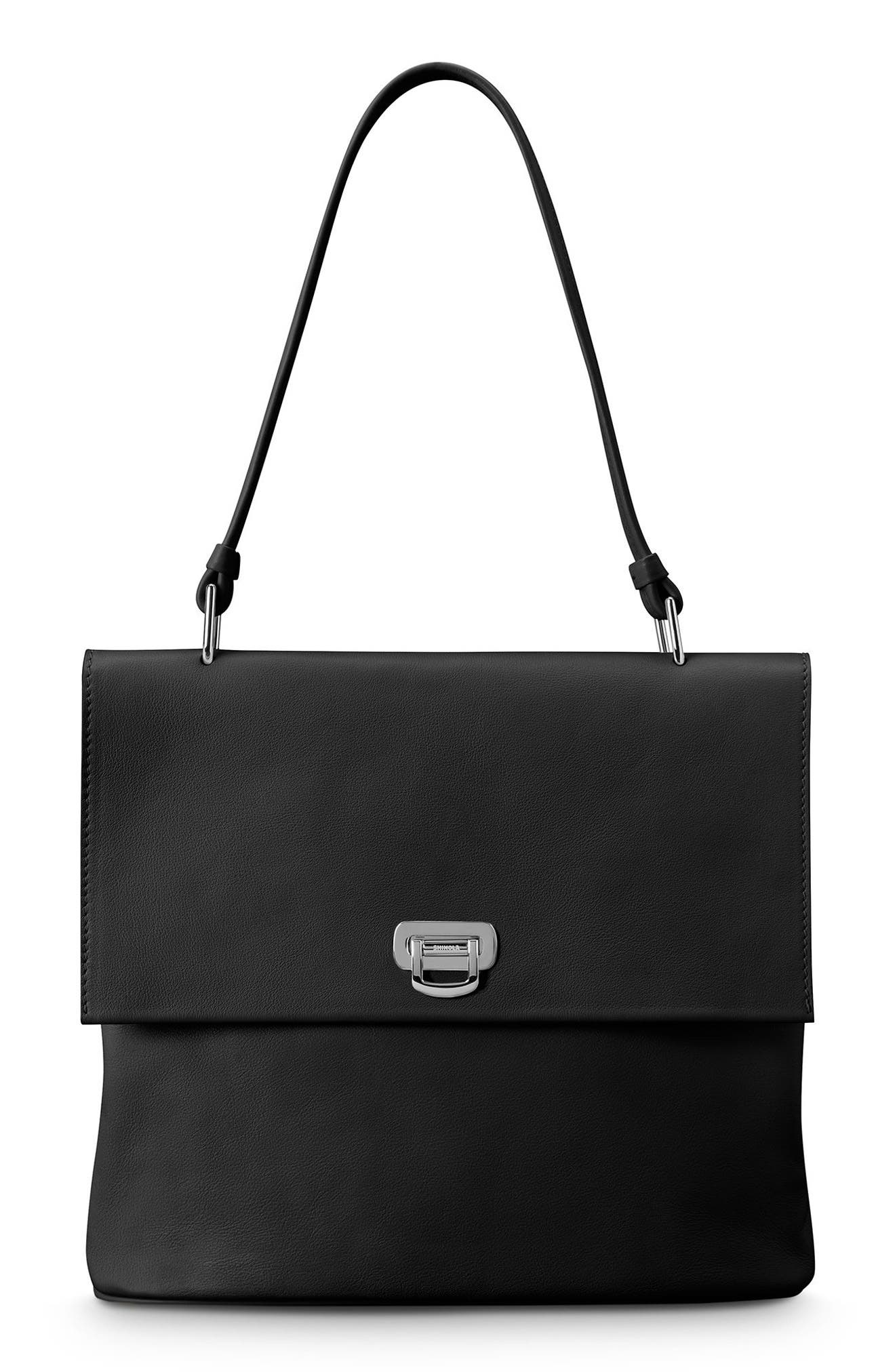 Birdy Leather Shoulder Bag,                         Main,                         color, BLACK