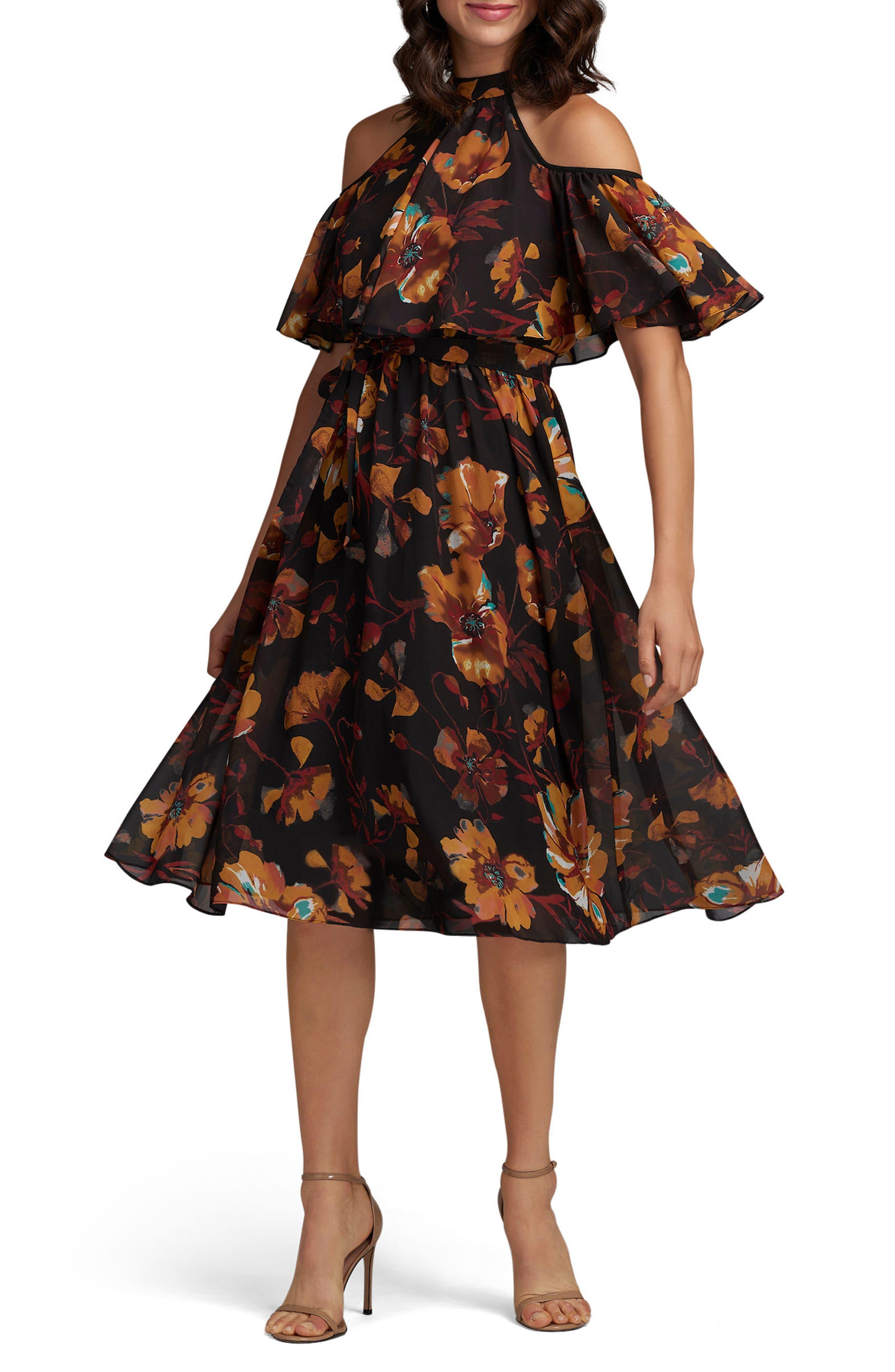 Floral Print Cold Shoulder Dress,                         Main,                         color, 701