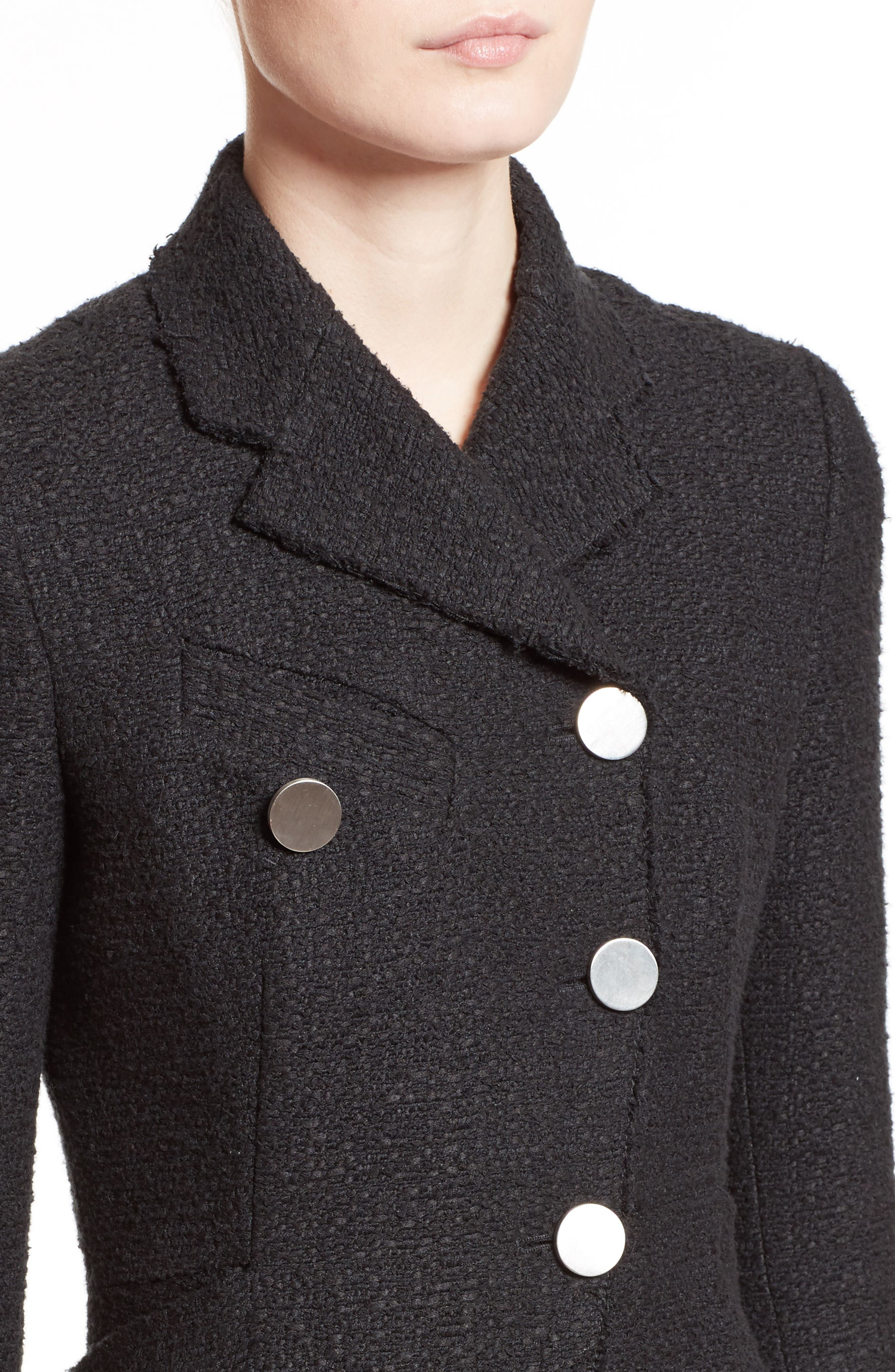 Asymmetrical Tweed Jacket,                             Alternate thumbnail 4, color,                             001
