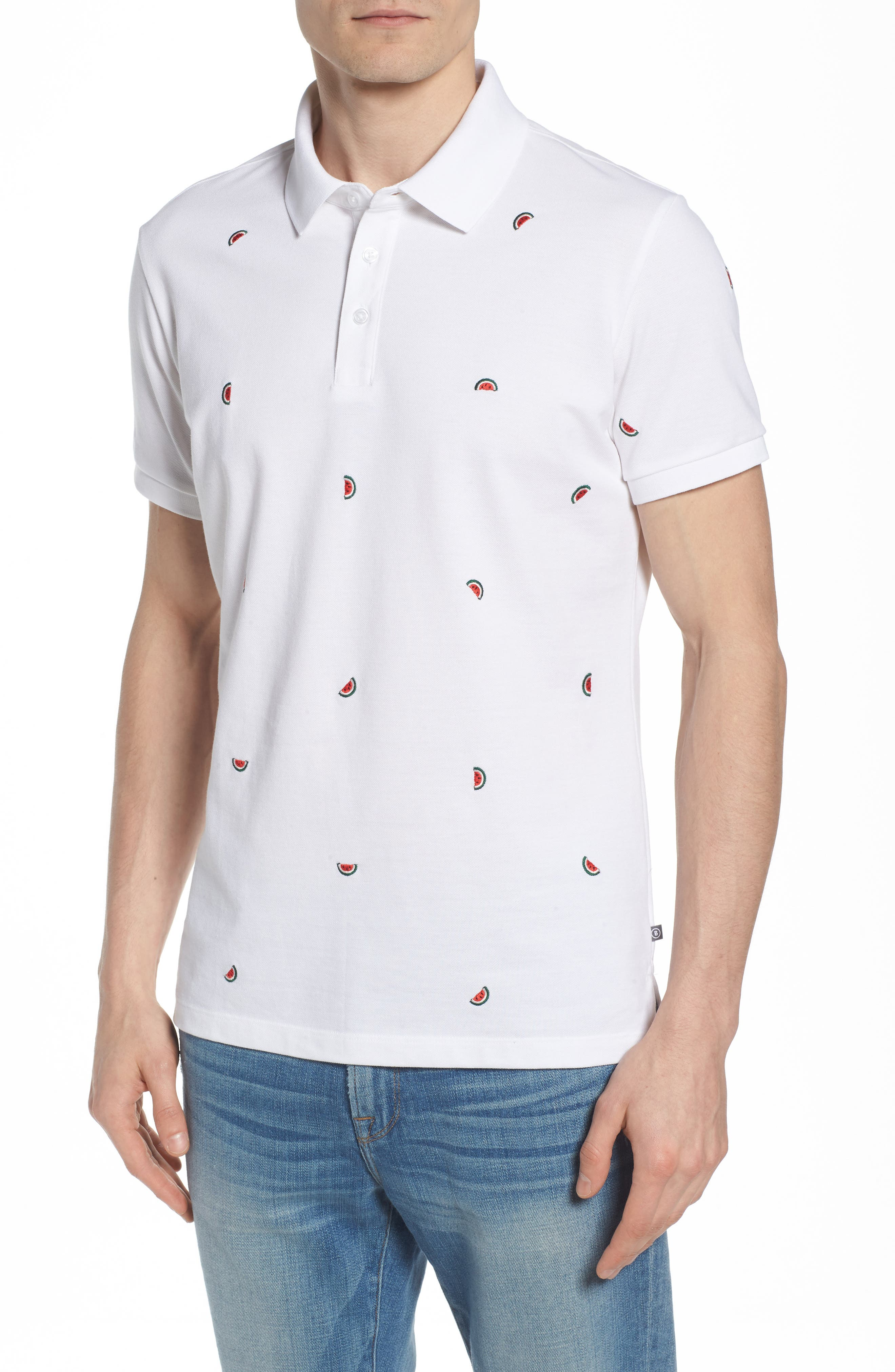 Slim Fit Embroidered Piqué Polo,                             Main thumbnail 2, color,
