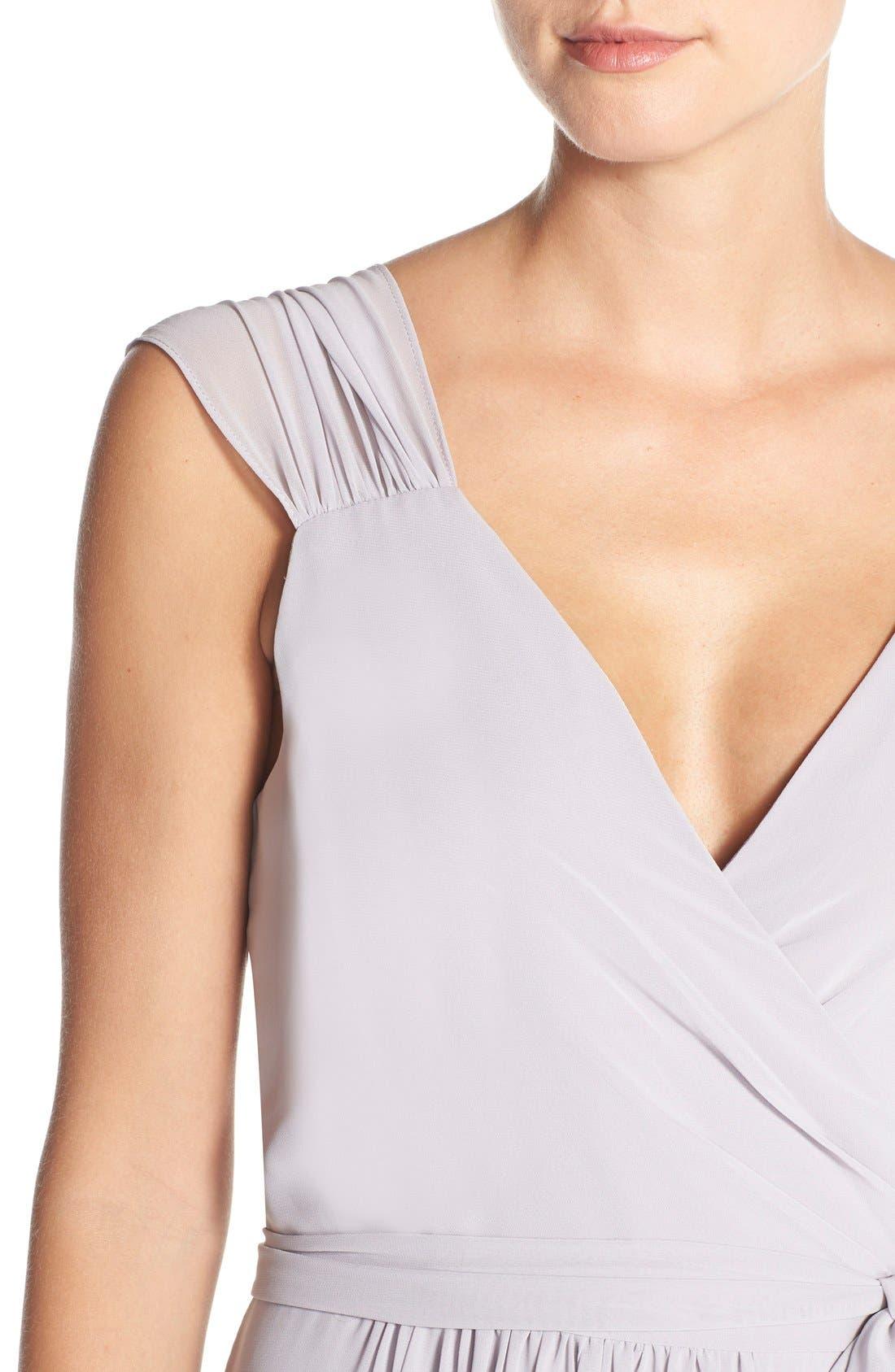 Newbury Gathered Sleeve Chiffon Wrap Gown,                             Alternate thumbnail 23, color,