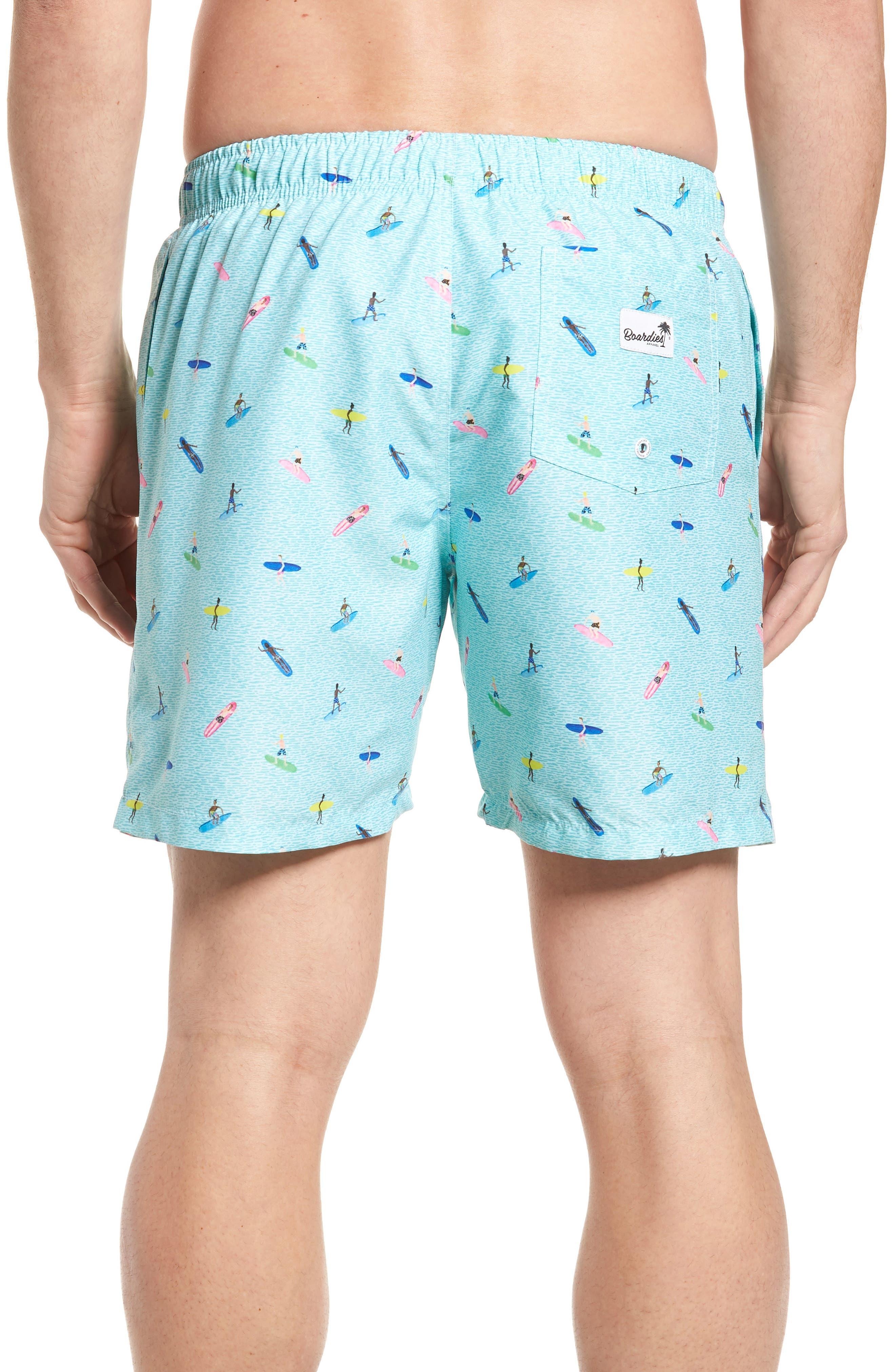 Sayulita Print Swim Shorts,                             Alternate thumbnail 2, color,                             AQUA GREEN