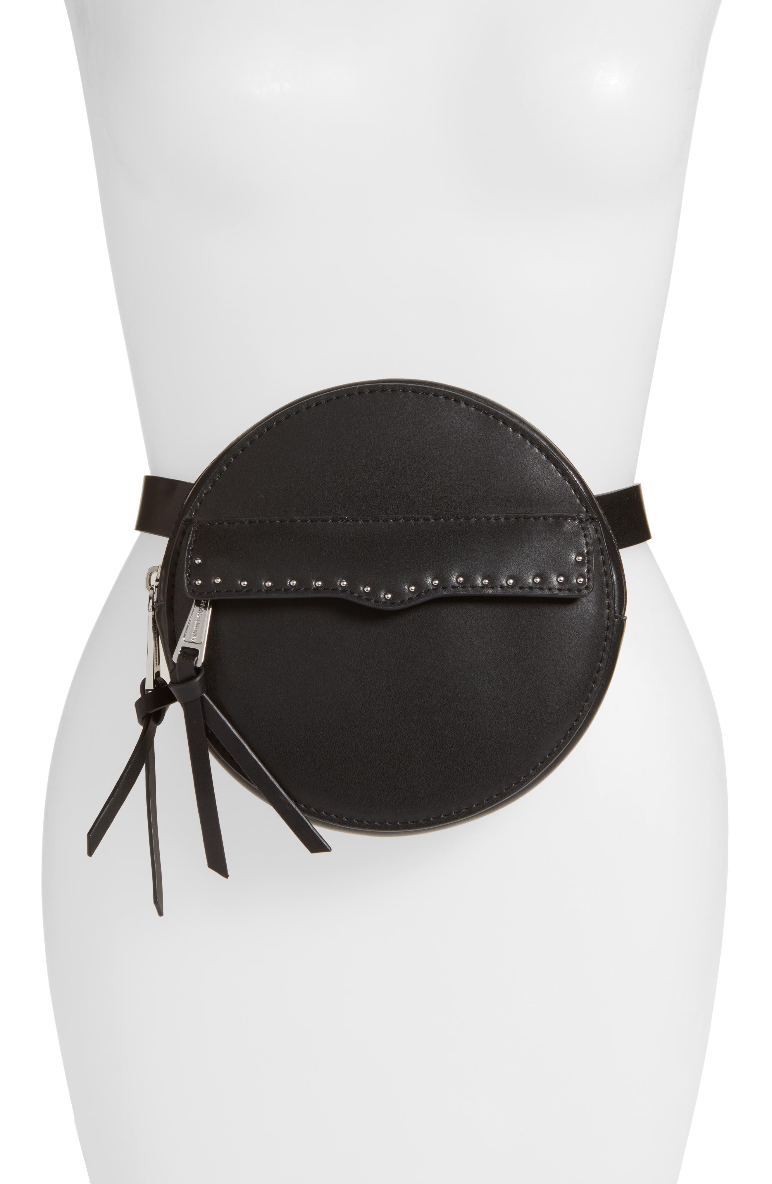 Lucy Leather Belt Bag,                         Main,                         color, BLACK