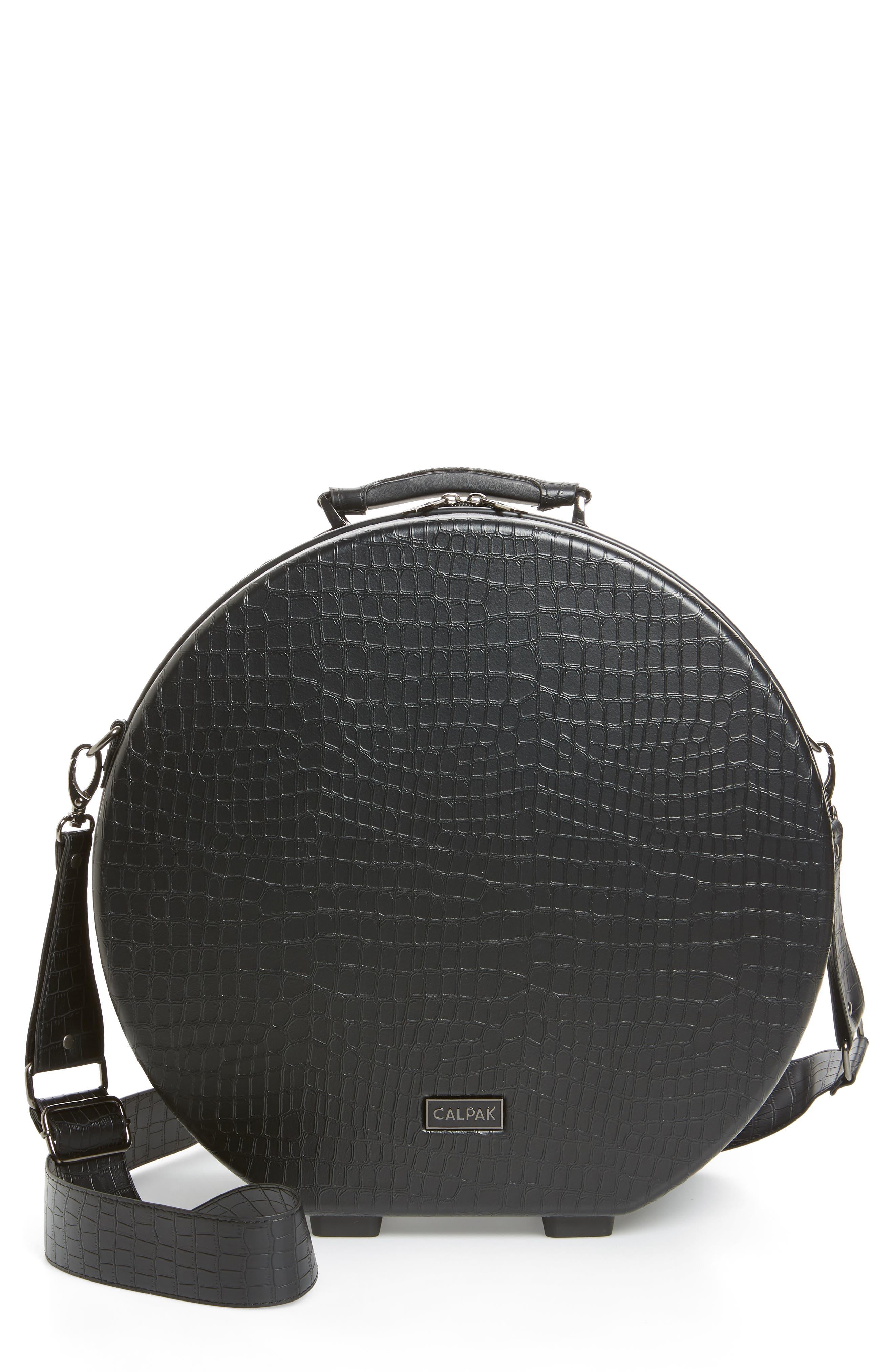 Baye Medium Hardcase Hat Box,                             Main thumbnail 1, color,                             BLACK