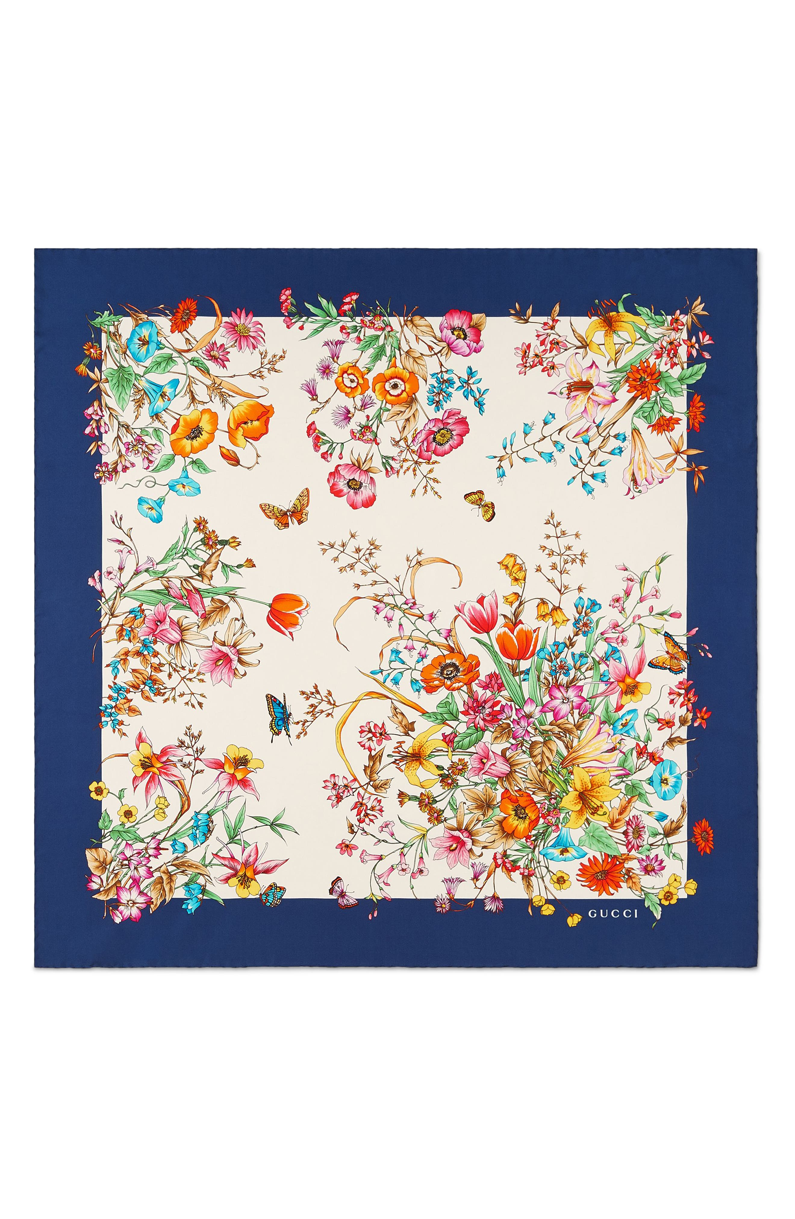 Eighties Bouquet Silk Scarf, Main, color, NAVY/ IVORY
