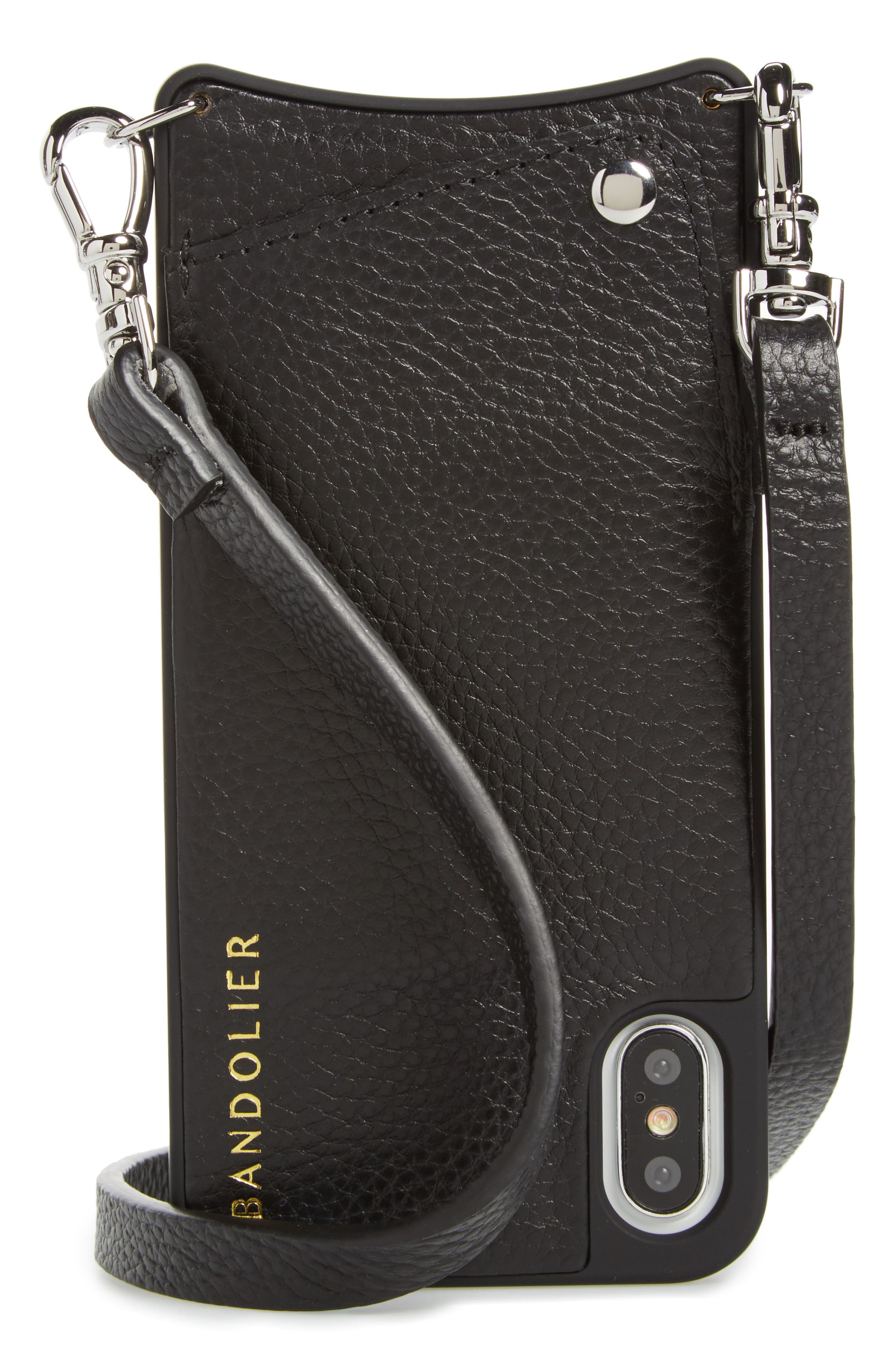 Emma Leather iPhone X & Xs/Xs Case,                         Main,                         color, NEW BLACK/ SILVER
