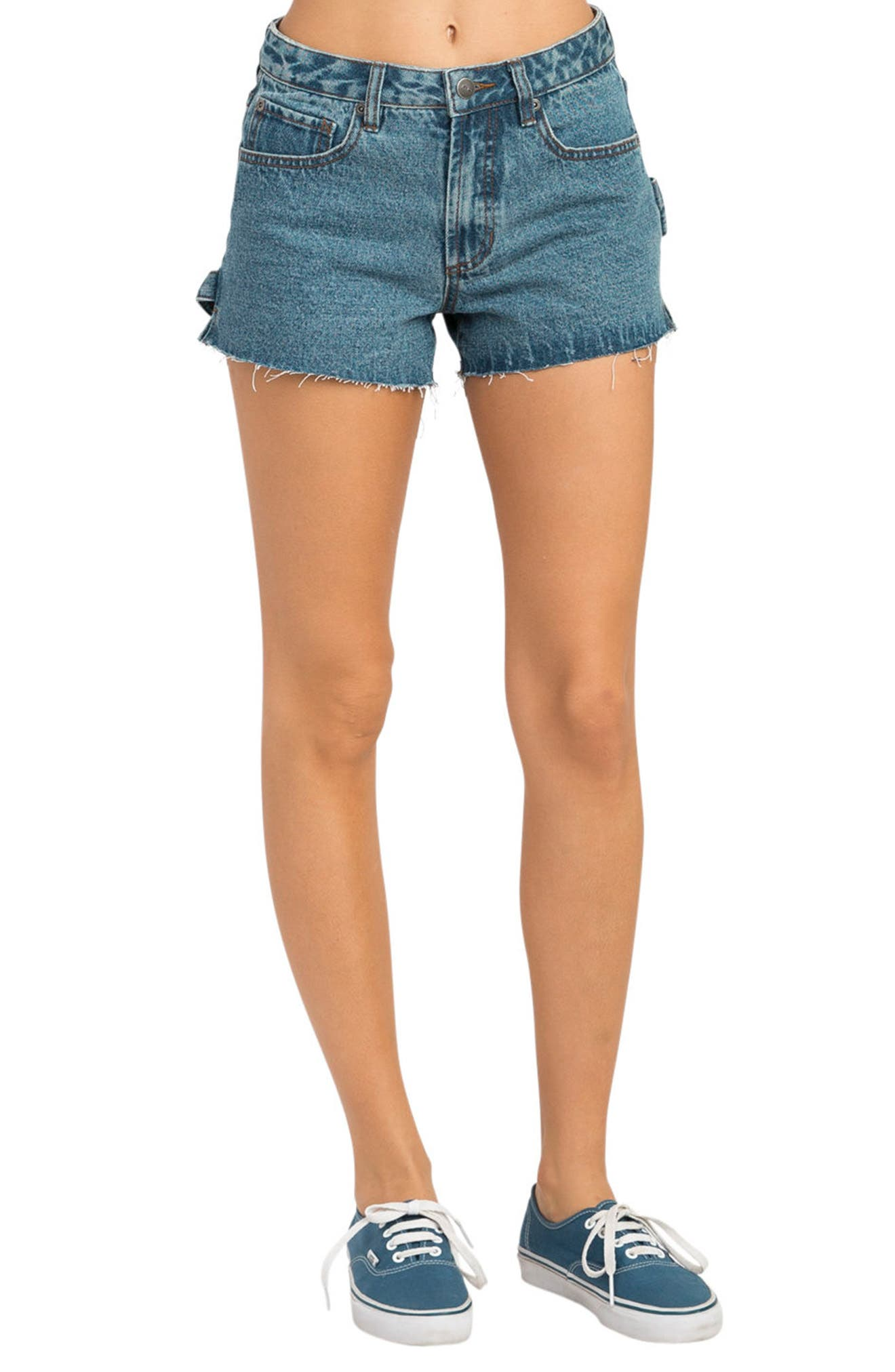 Highly Werked Raw Hem Denim Shorts,                             Main thumbnail 1, color,