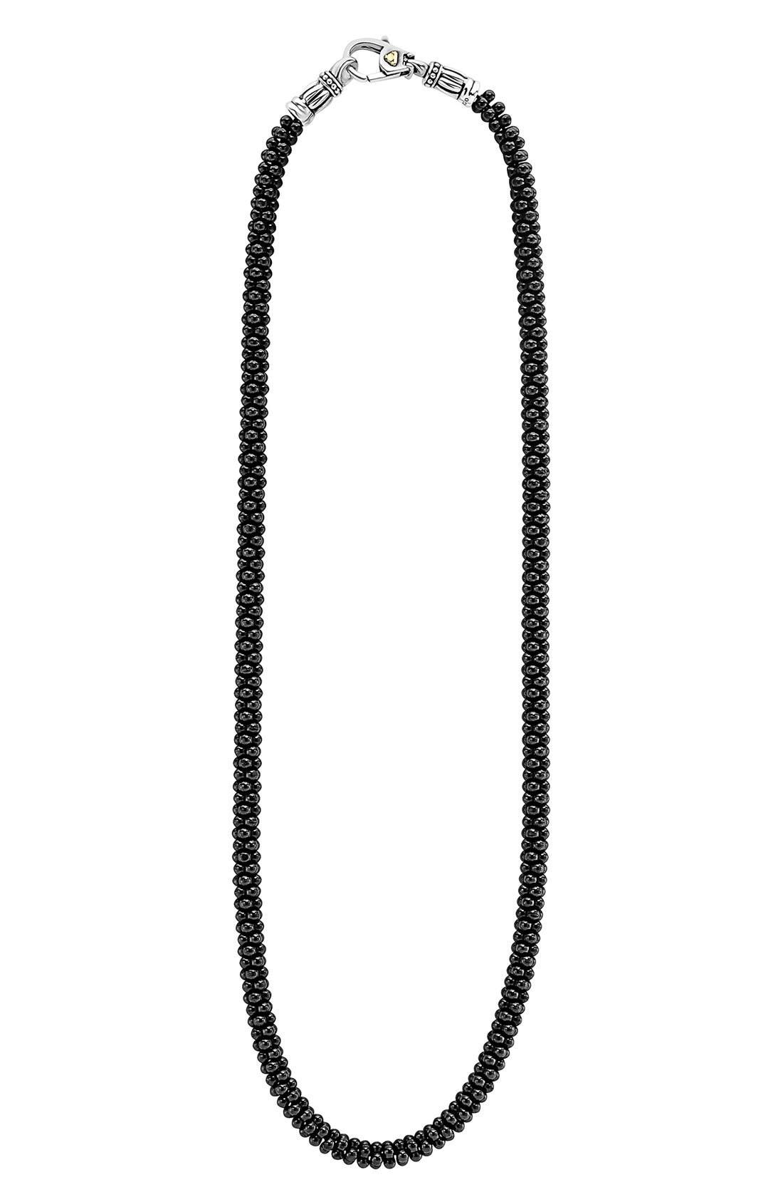 'Black Caviar' 5mm Beaded Necklace,                             Main thumbnail 1, color,                             BLACK CAVIAR
