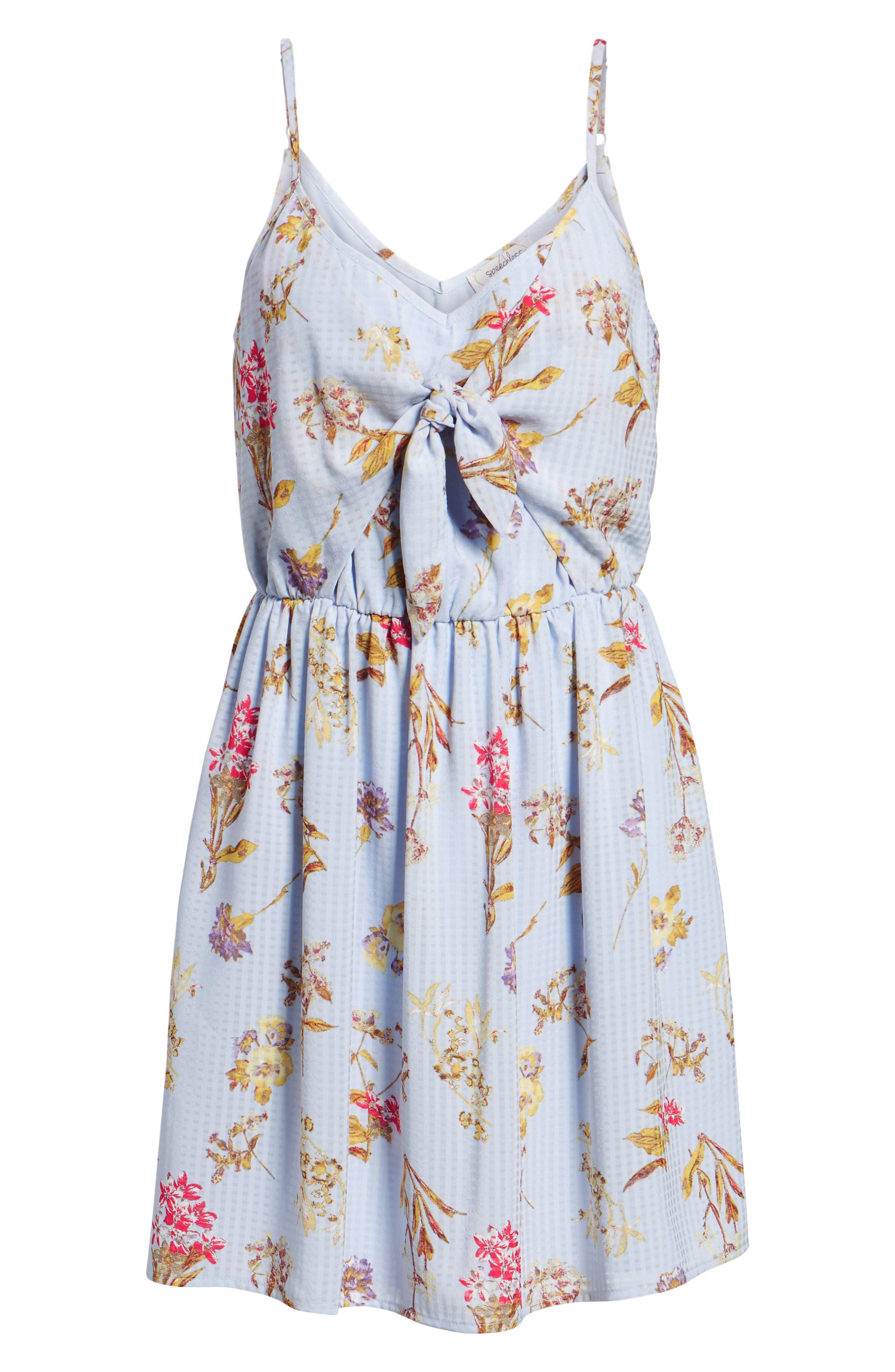 Floral Tie Front Dress,                             Alternate thumbnail 7, color,                             400
