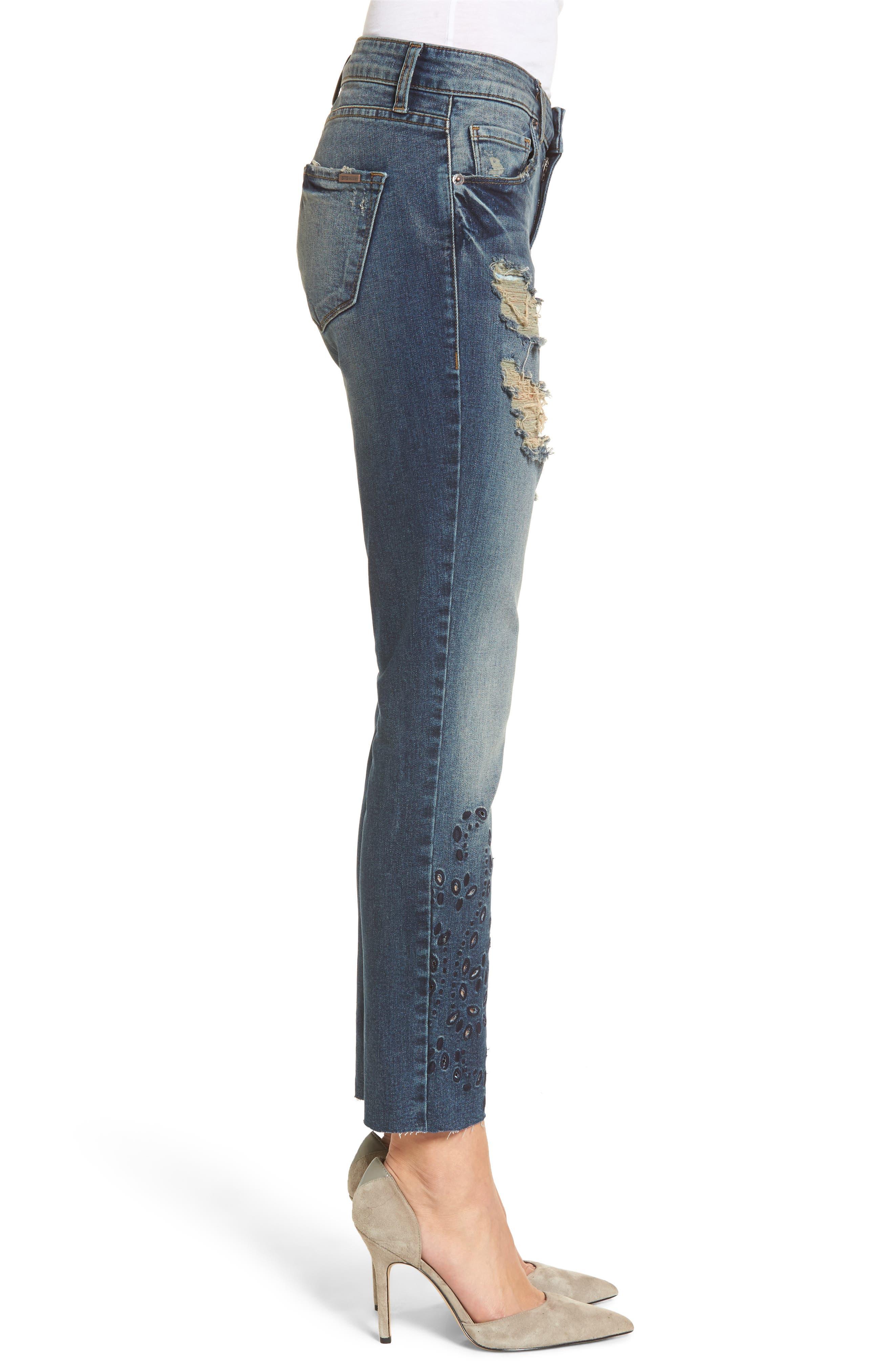Taylor Ripped Eyelet Straight Leg Jeans,                             Alternate thumbnail 3, color,                             400
