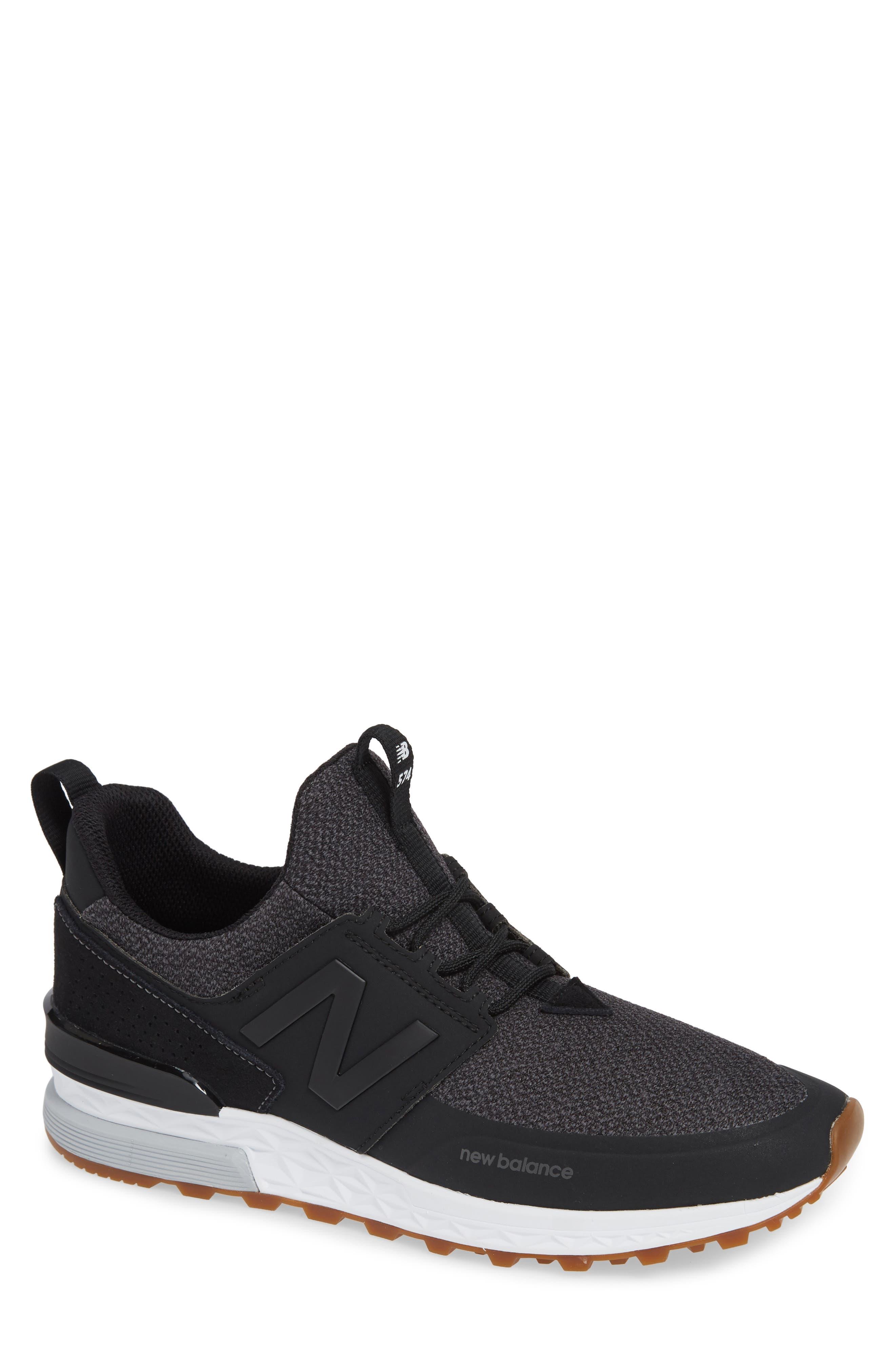 574 Sport Sneaker,                         Main,                         color, BLACK SYNTHETIC/ TEXTILE