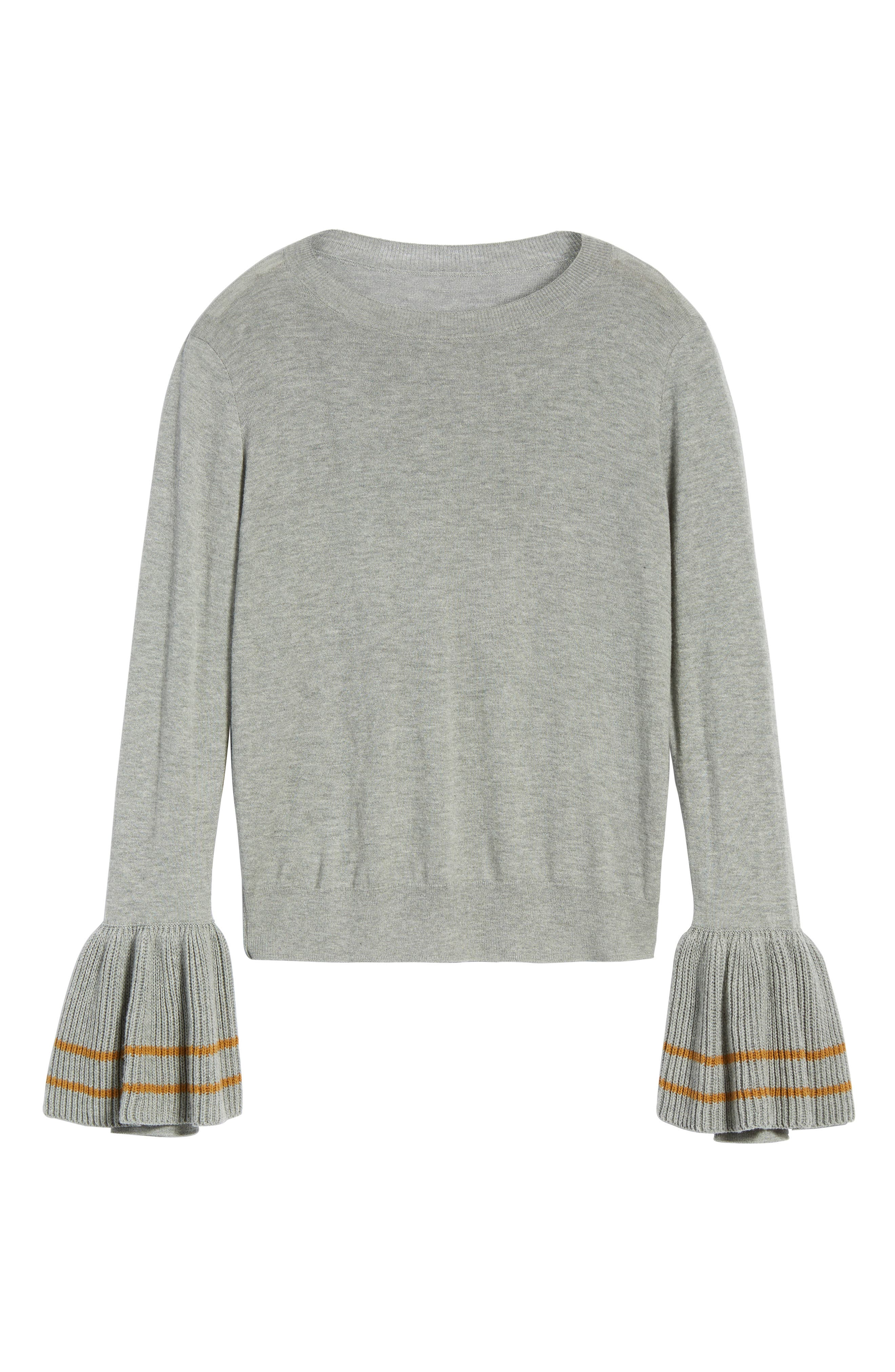 Ruffle Bell Cuff Sweater,                             Alternate thumbnail 6, color,                             030