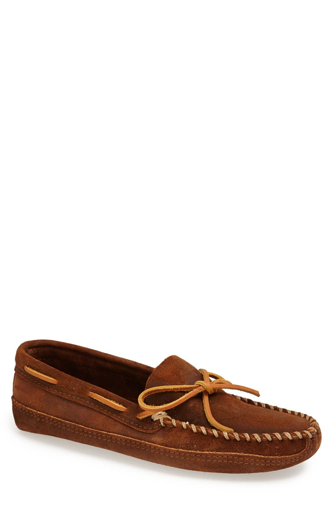 Suede Sole Moccasin,                         Main,                         color, BROWN