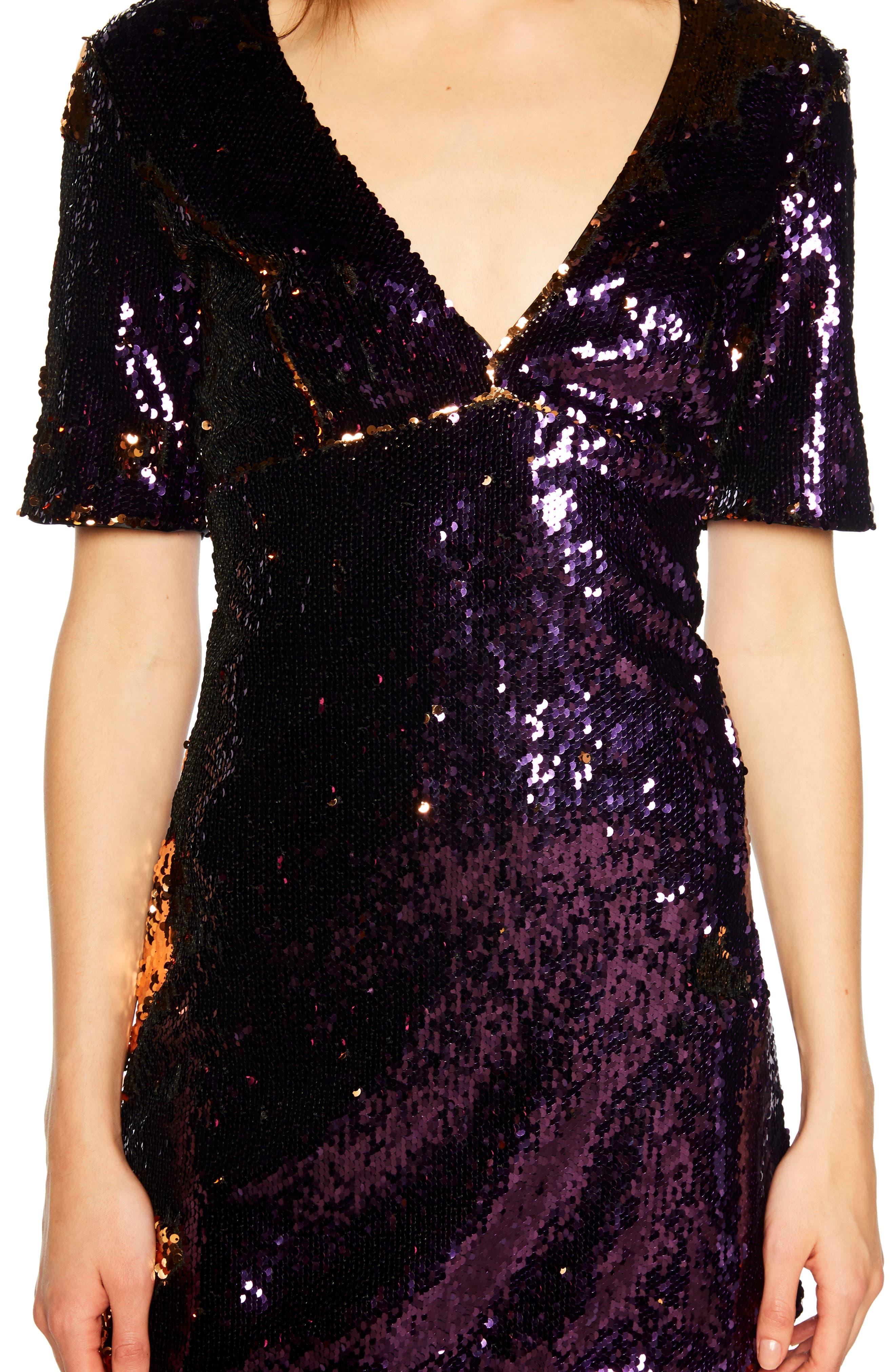 Sequin Embellished Dress,                             Alternate thumbnail 4, color,                             GOLD/ PURPLE