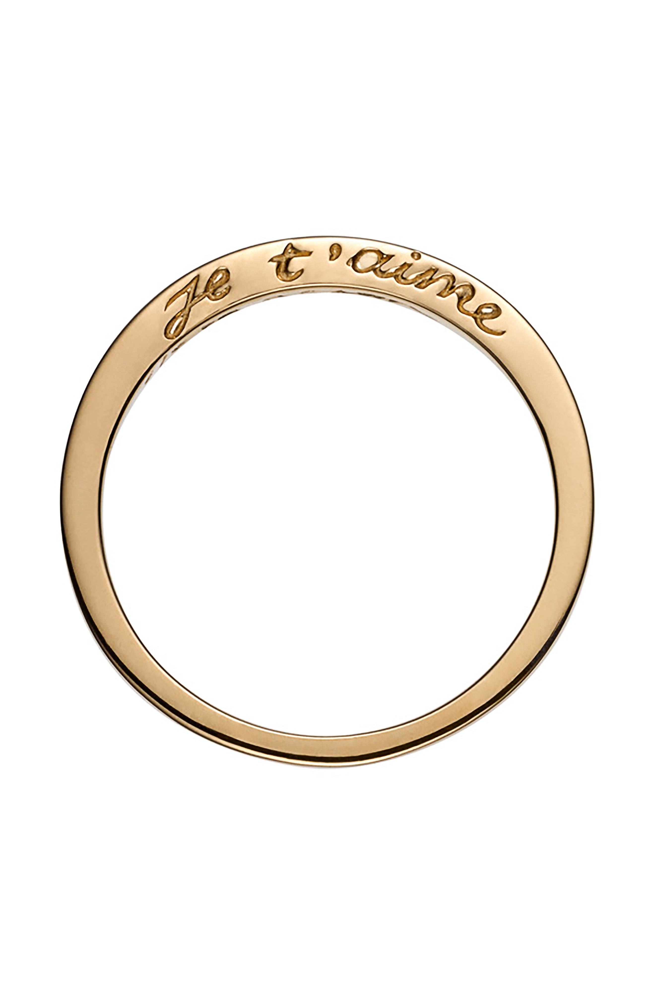 Je T'aime Side Script Stackable Ring,                             Main thumbnail 1, color,                             YELLOW GOLD
