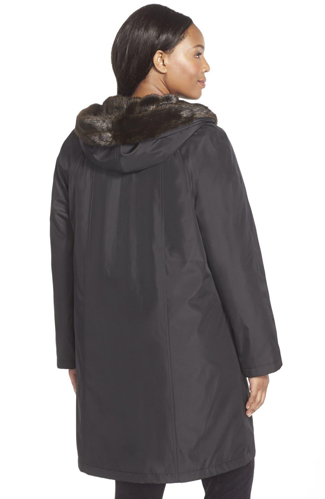 A-Line Storm Coat with FauxFur Lining & Trim,                             Alternate thumbnail 3, color,                             001