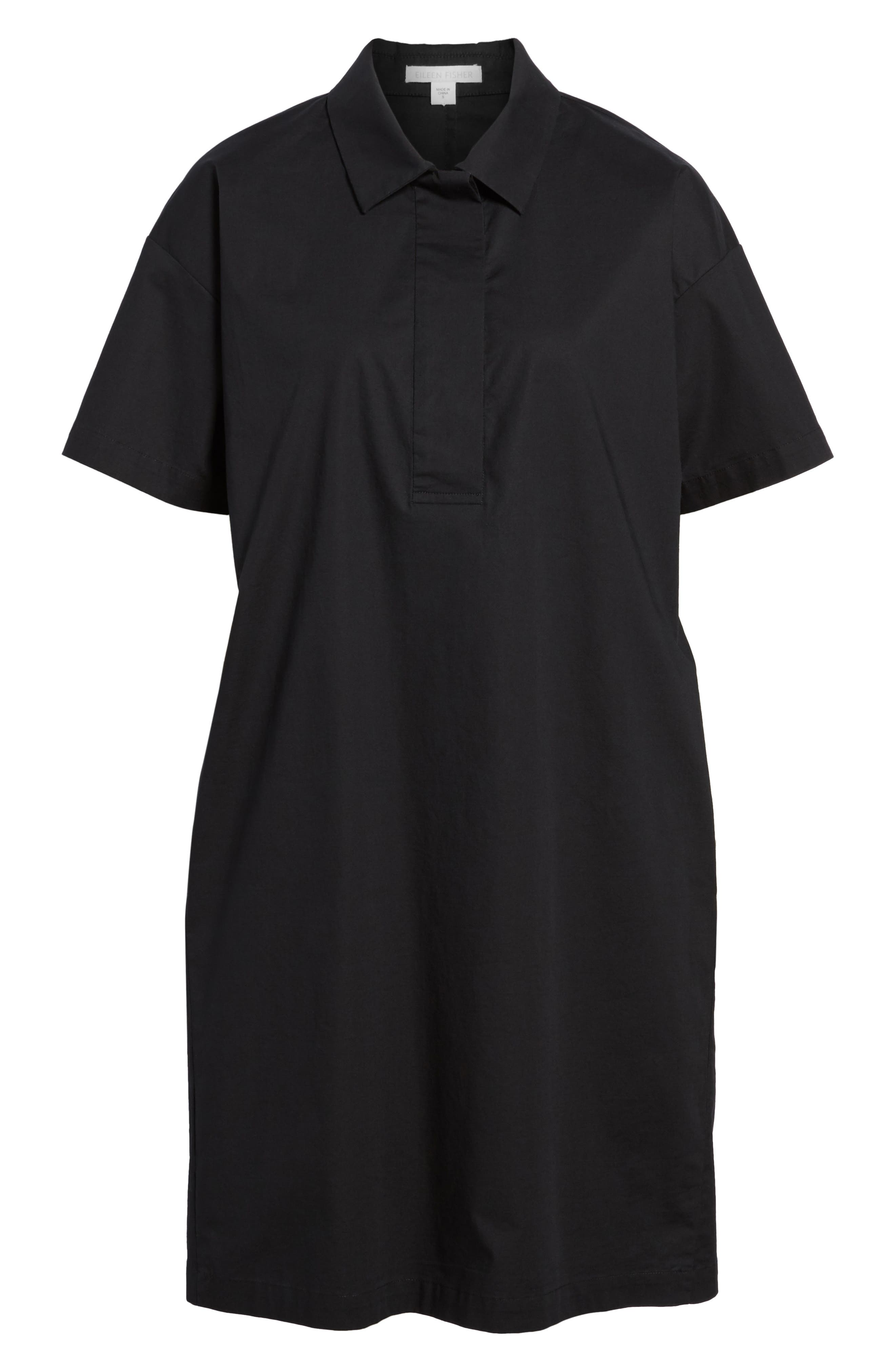 Organic Cotton Poplin Shirtdress,                             Alternate thumbnail 7, color,                             001