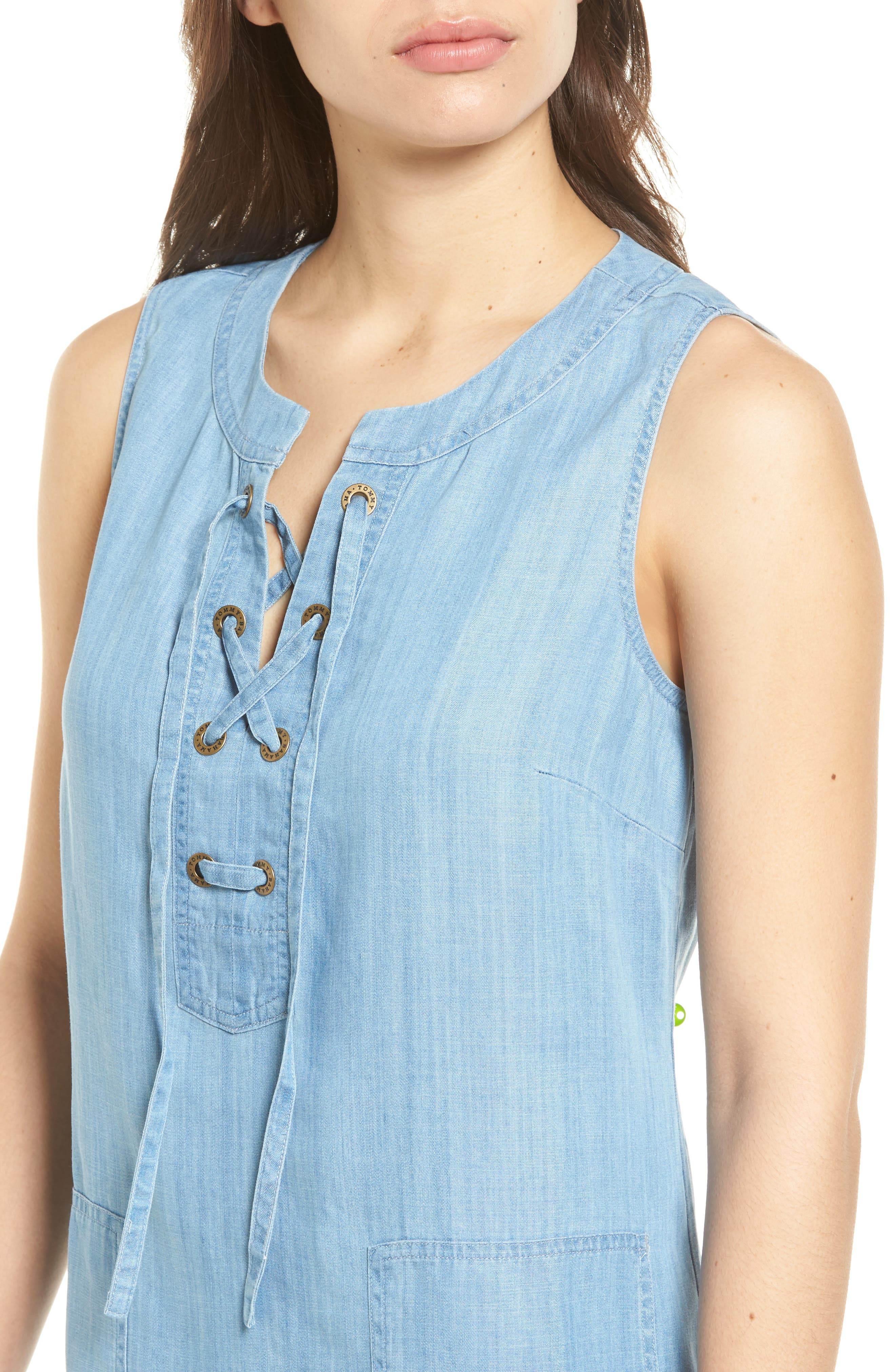 Lace-Up Chambray Shift Dress,                             Alternate thumbnail 4, color,                             400