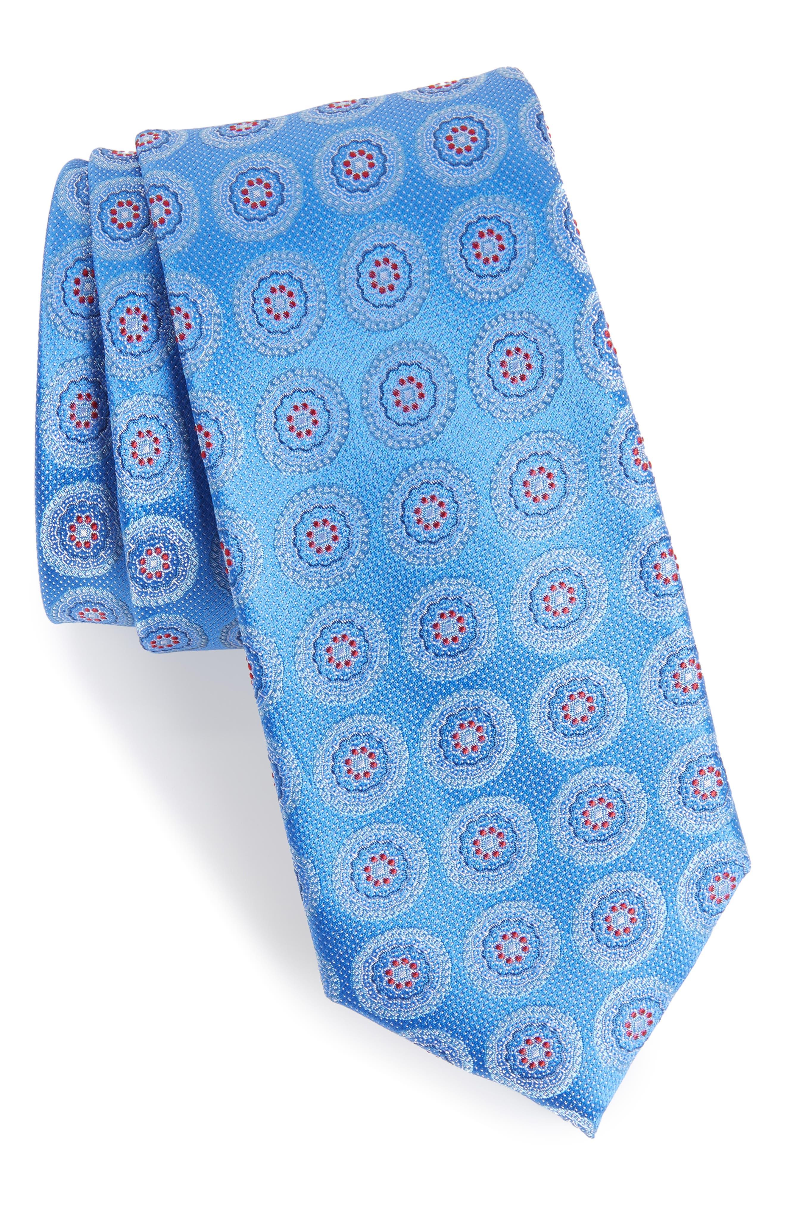 Pinpoint Medallion Silk Tie,                             Main thumbnail 3, color,