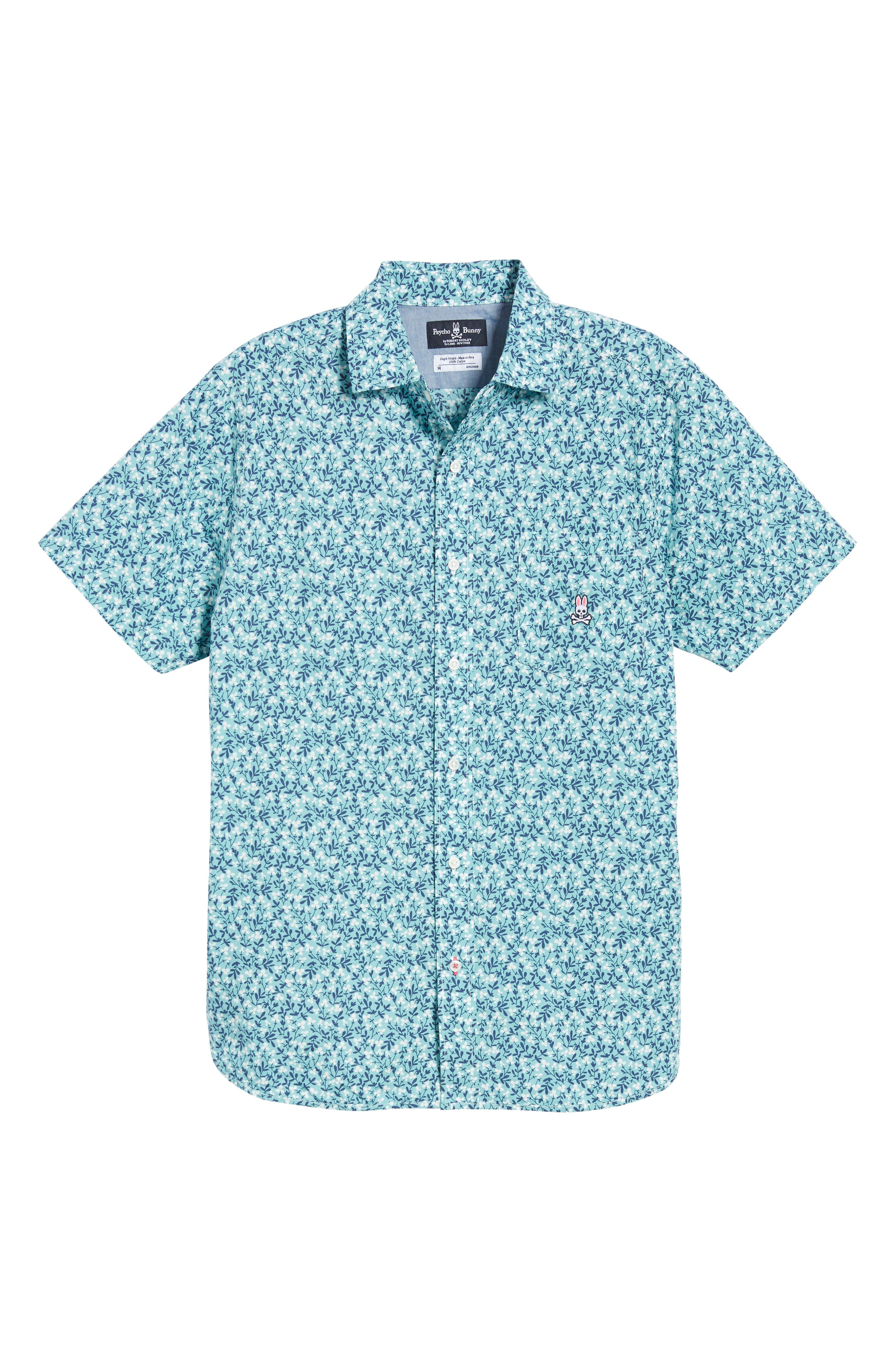 PSYCHO BUNNY,                             Tiny Floral Camp Shirt,                             Alternate thumbnail 6, color,                             ULTRAMARINE