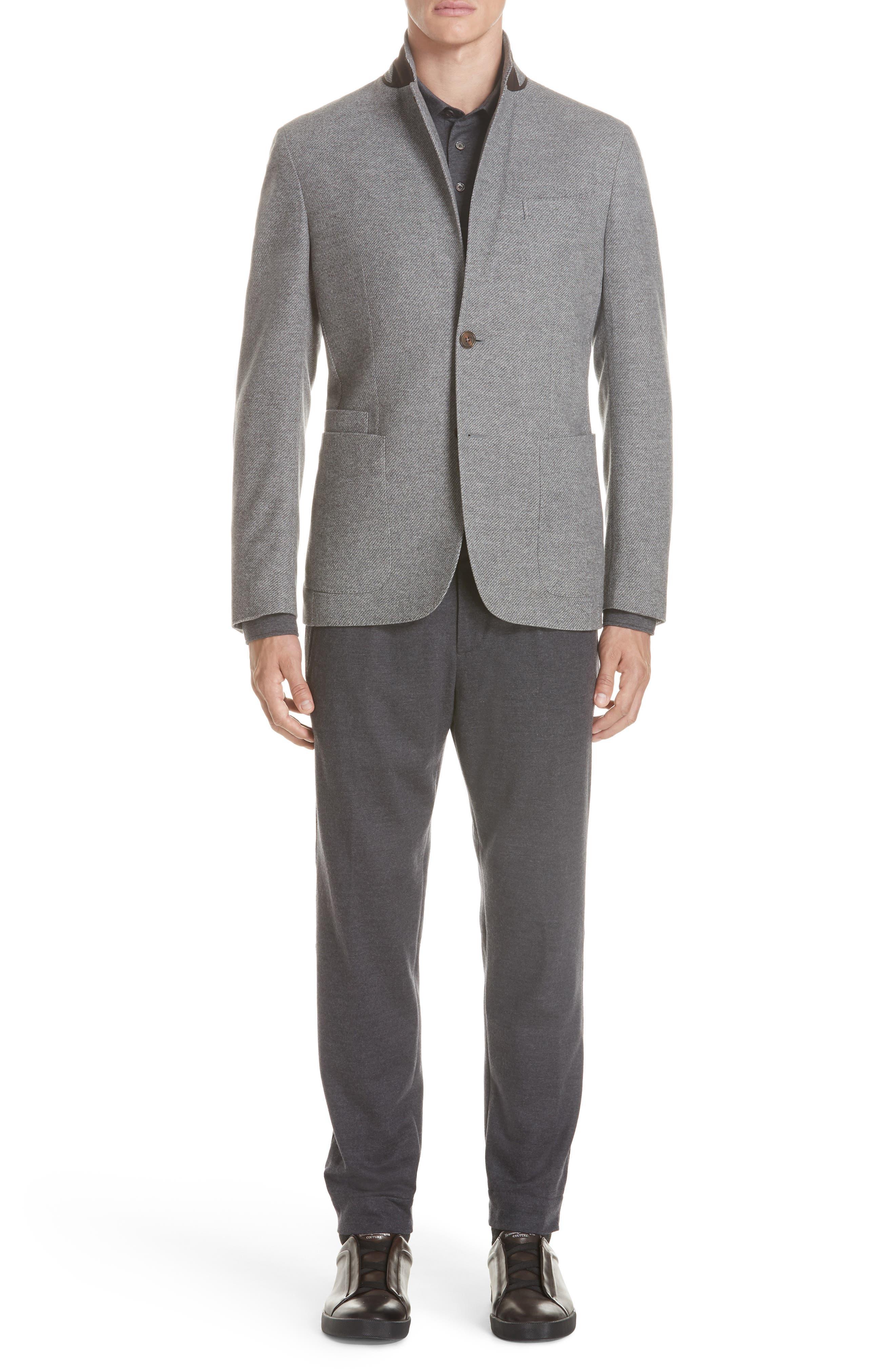 Wool & Cotton Long Sleeve Polo Shirt,                             Alternate thumbnail 7, color,                             CHARCOAL