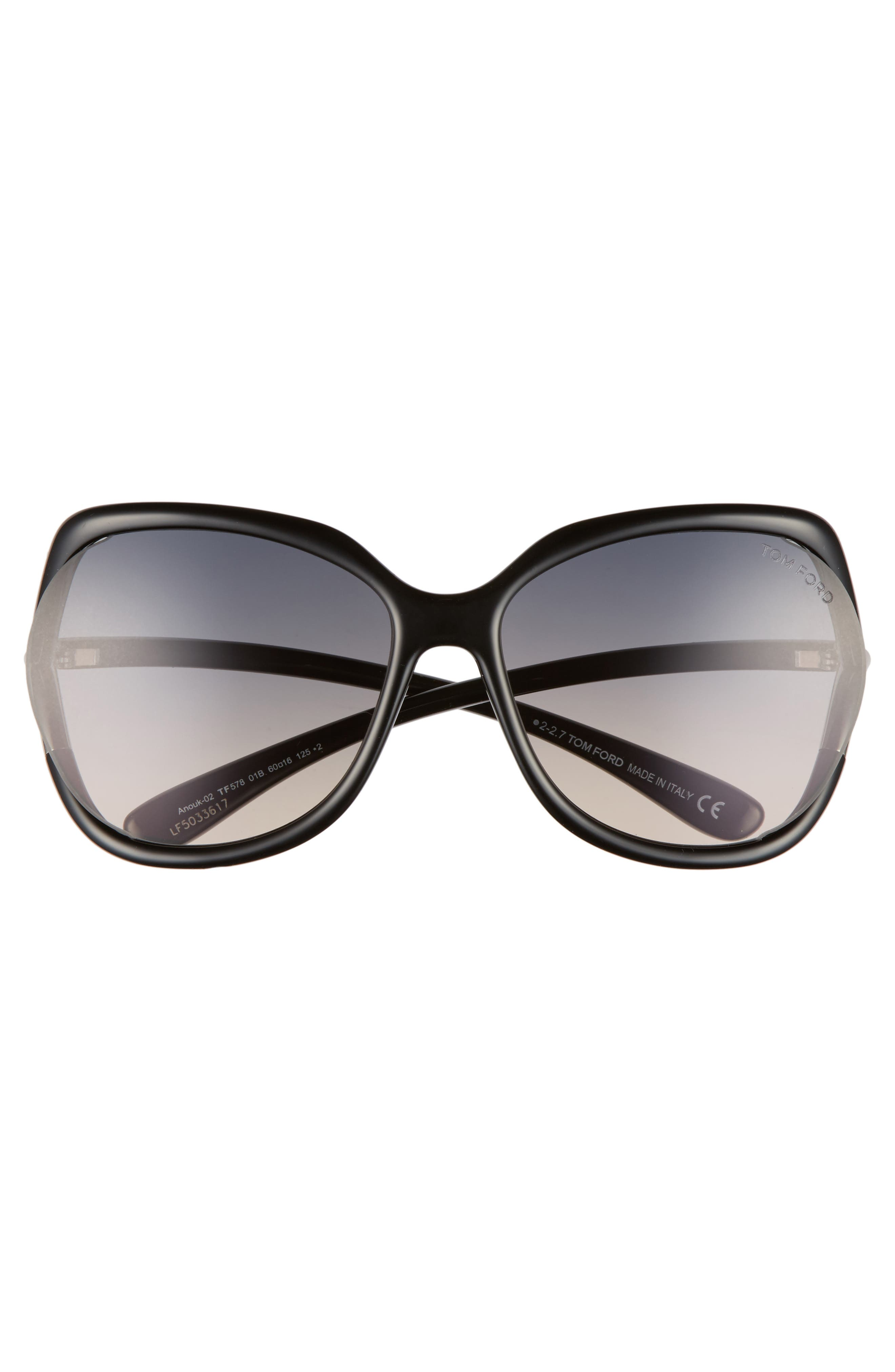 Anouk 60mm Geometric Sunglasses,                             Alternate thumbnail 3, color,                             BLACK/ GRADIENT SMOKE