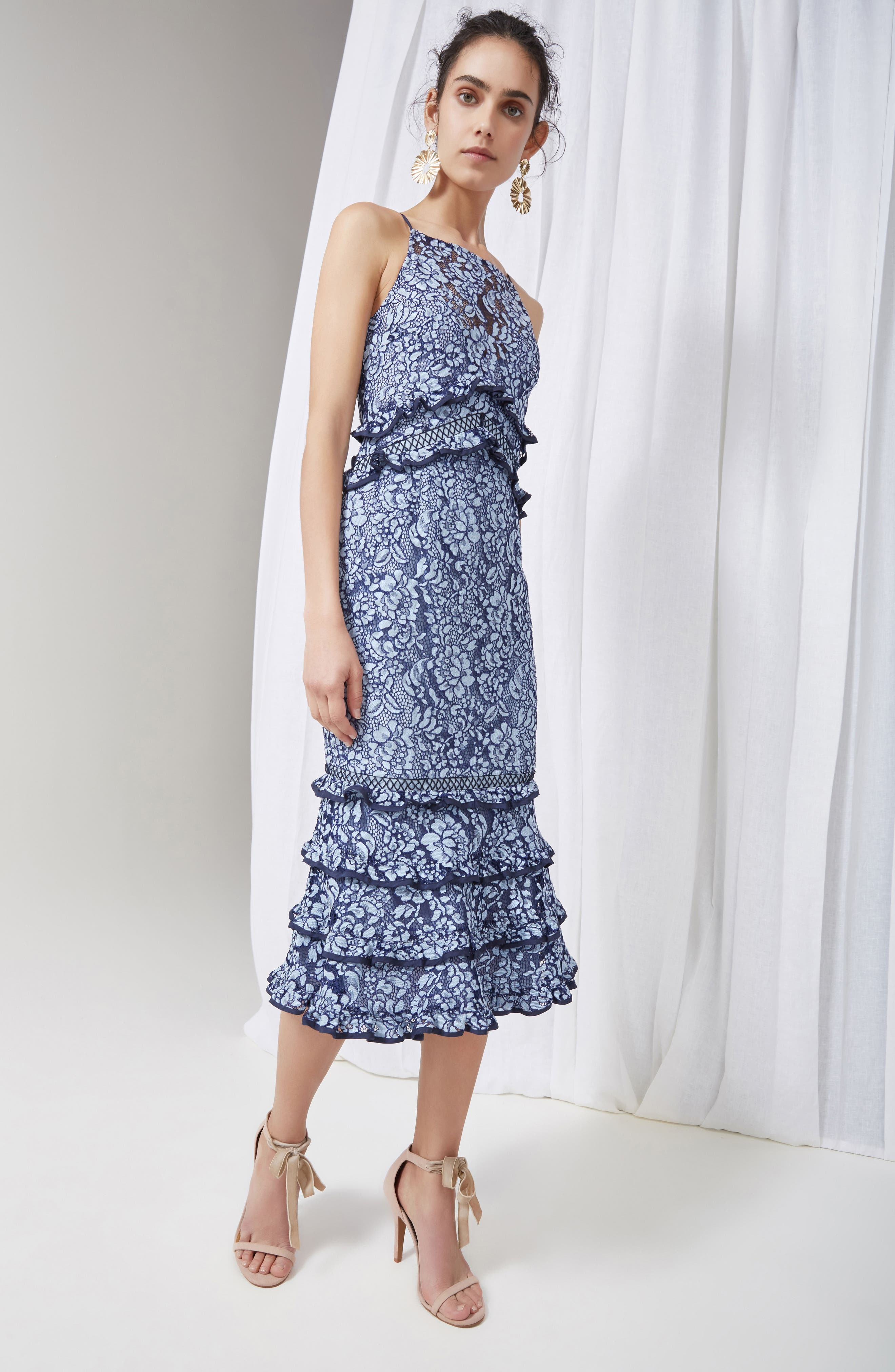 Catch Me Ruffle Lace Sheath Dress,                             Alternate thumbnail 7, color,                             425