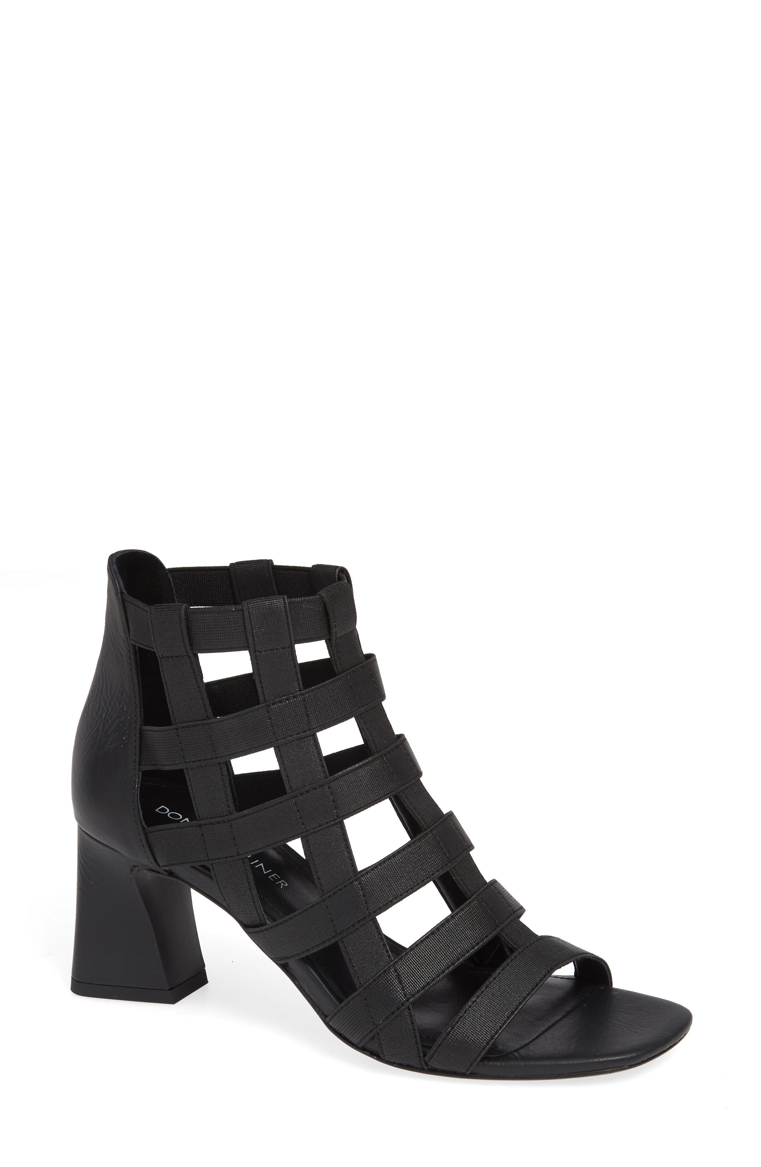 DONALD PLINER Women'S Visto Strappy Cage Block Heel Sandals in Black