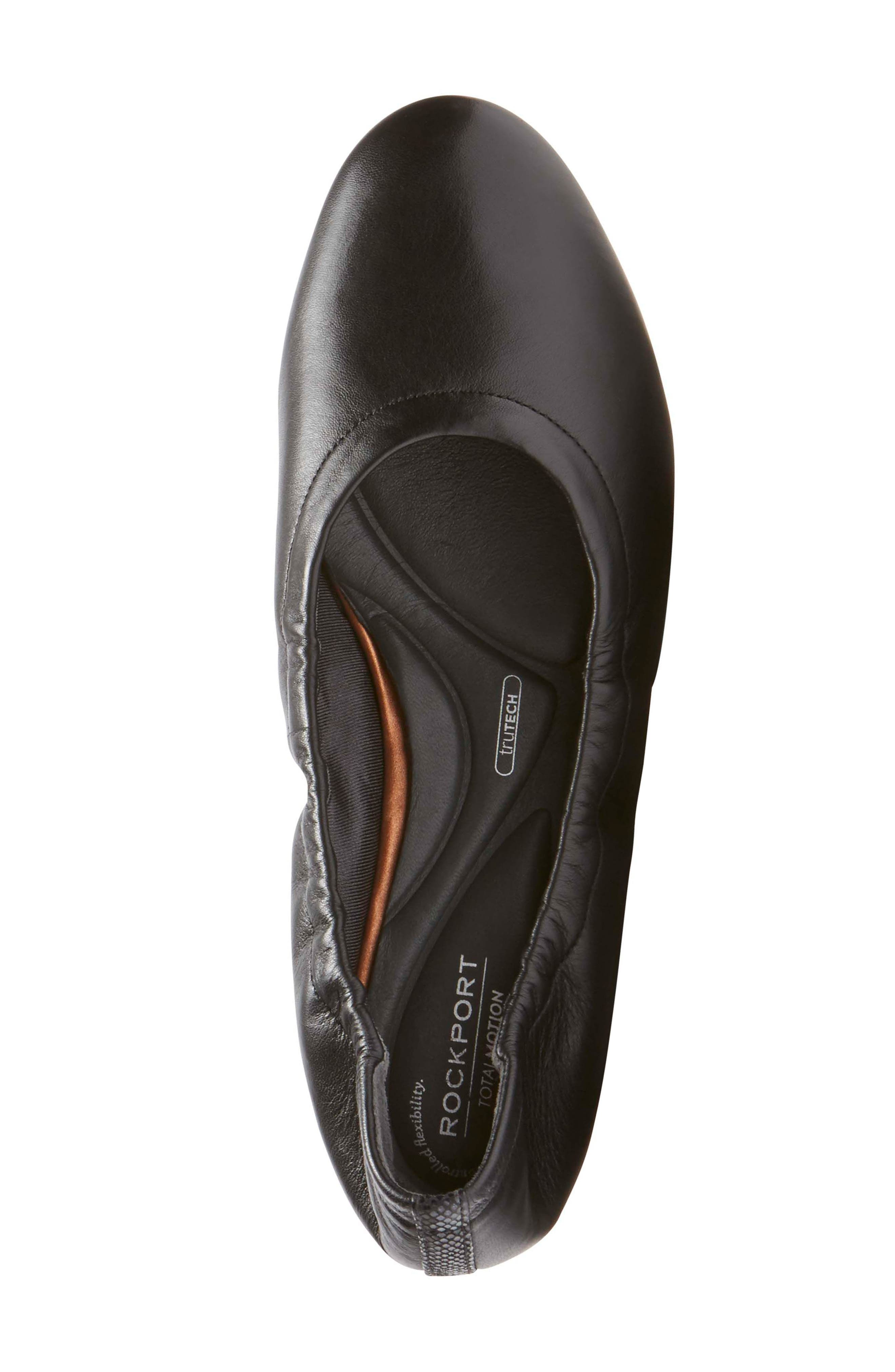 Total Motion Luxe Ruched Slip-On,                             Alternate thumbnail 5, color,                             BLACK LEATHER