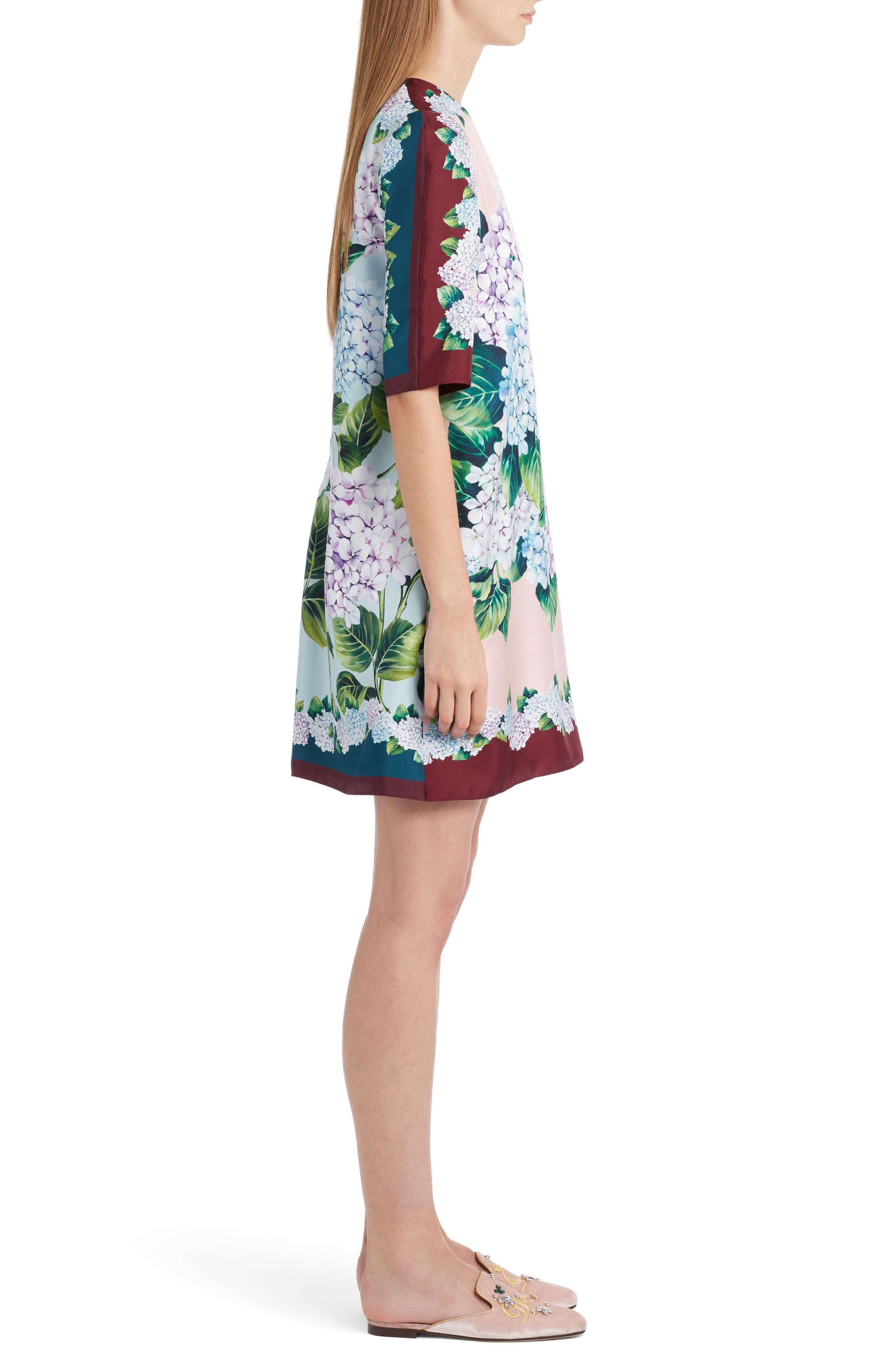 Hydrangea Print Silk Shift Dress,                             Alternate thumbnail 3, color,