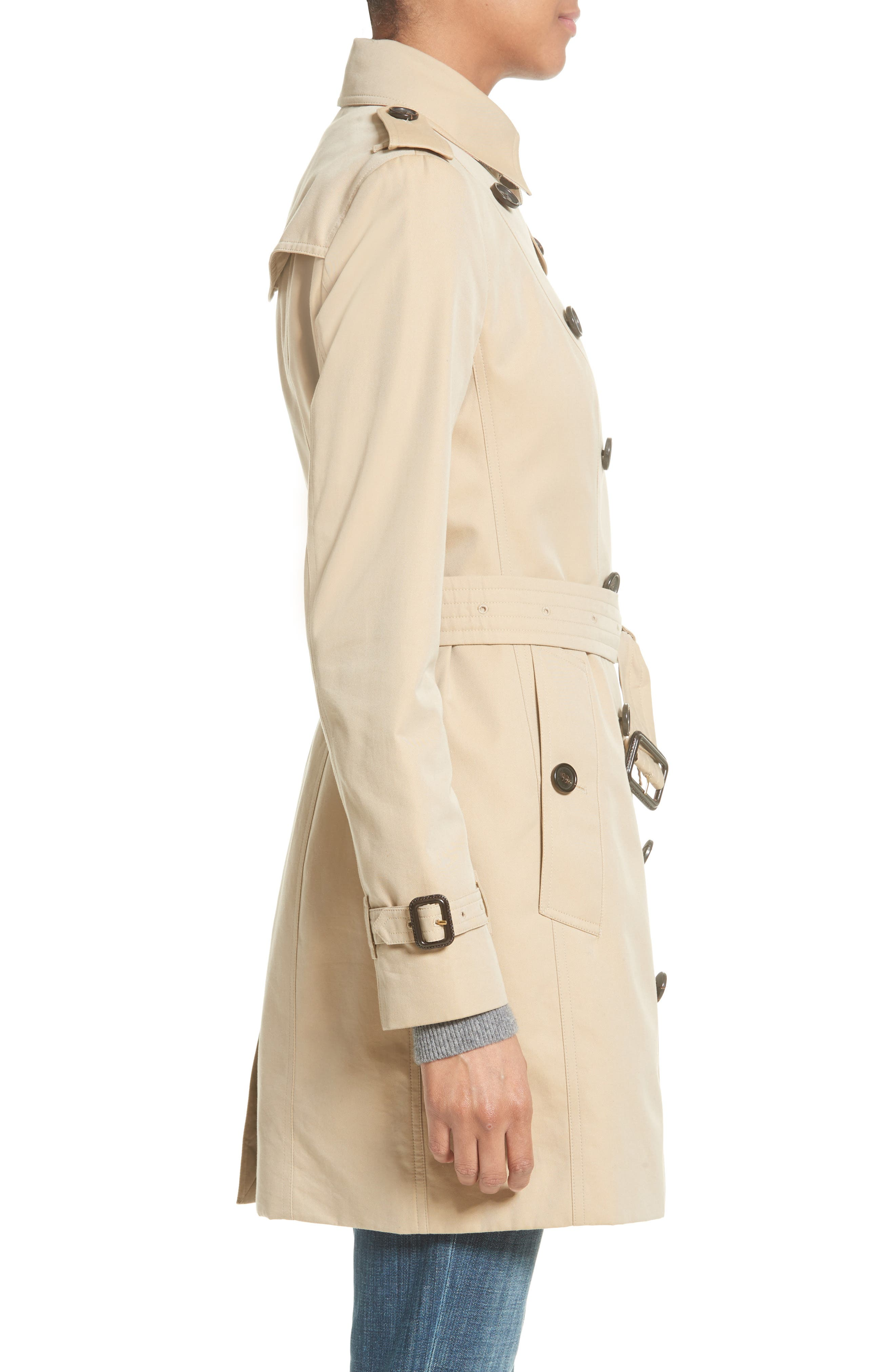 BURBERRY,                             Sandringham Mid Slim Trench Coat,                             Alternate thumbnail 3, color,                             HONEY